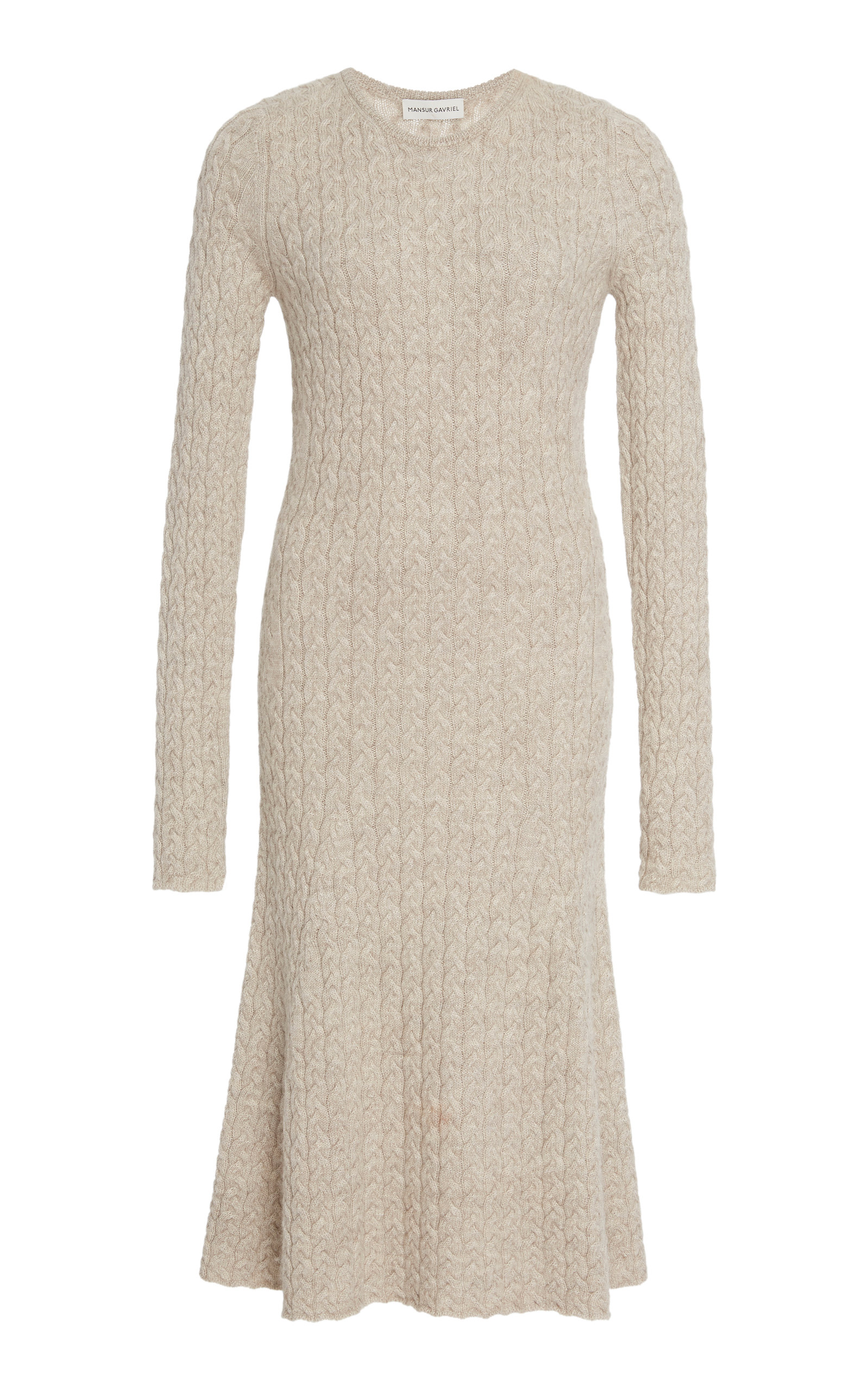 Cable-Knit Wool And Silk-Blend Midi Dress, Taupe