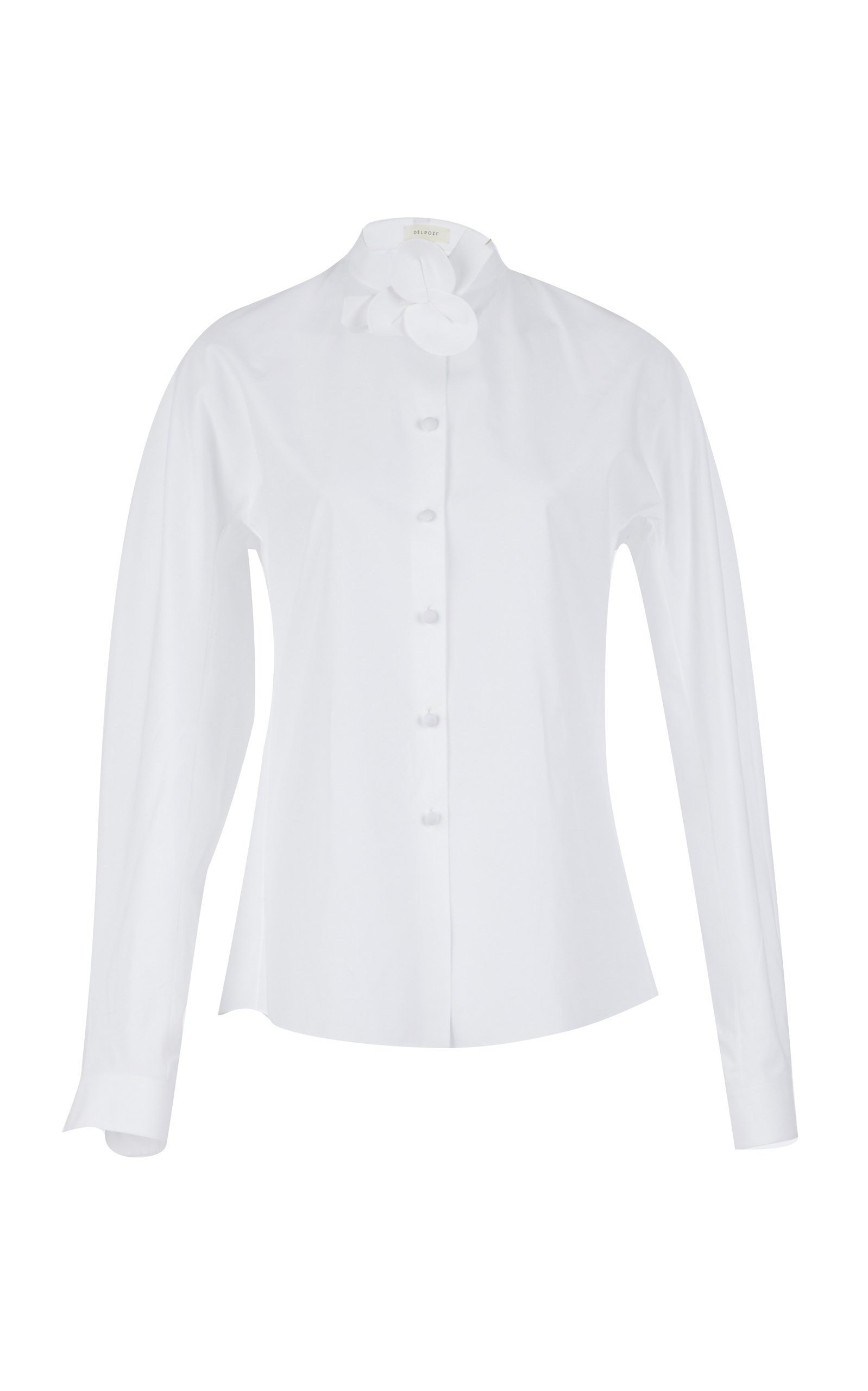 Shirt With Flower Neckband in White