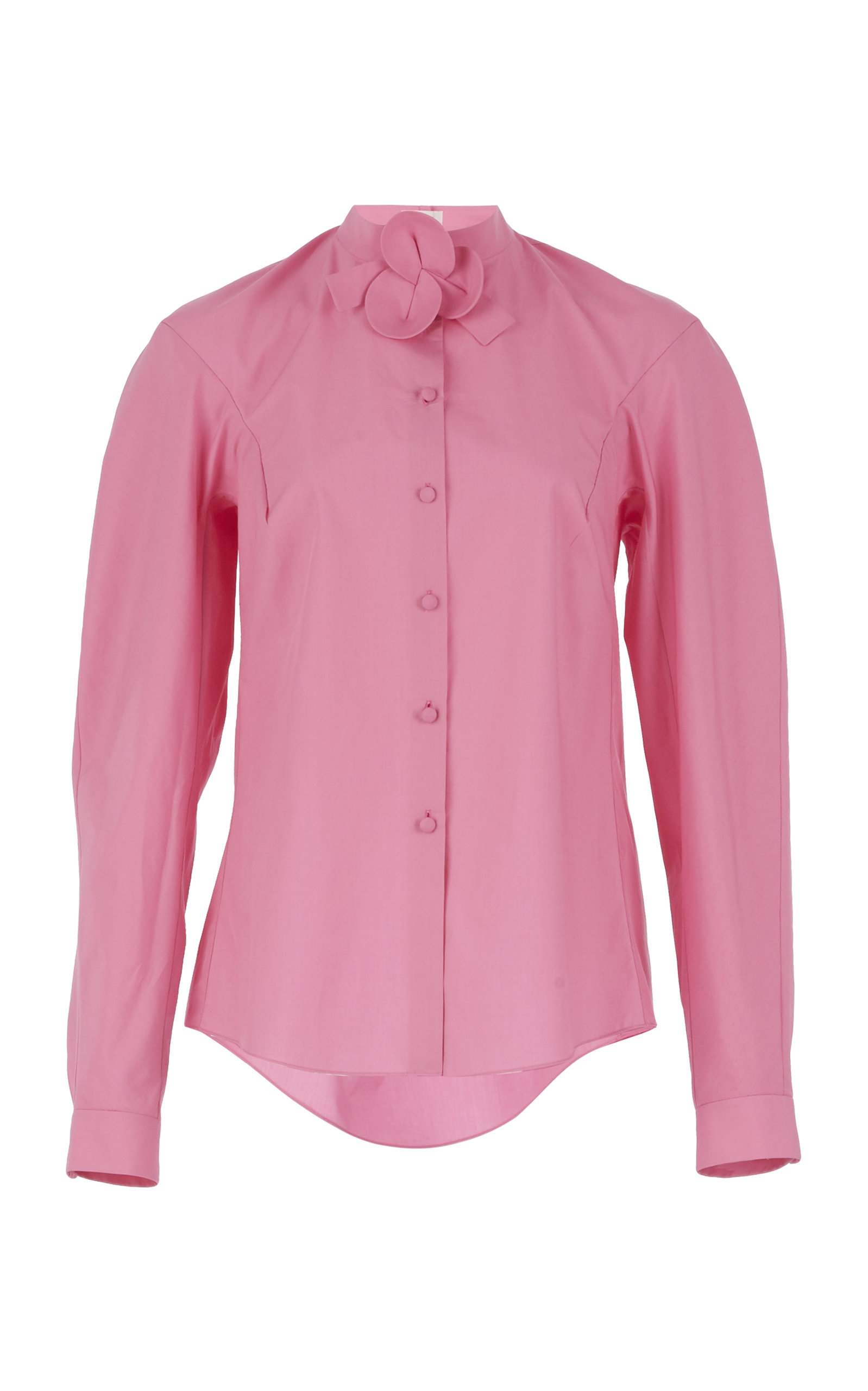 Shirt With Flower Neckband in Pink