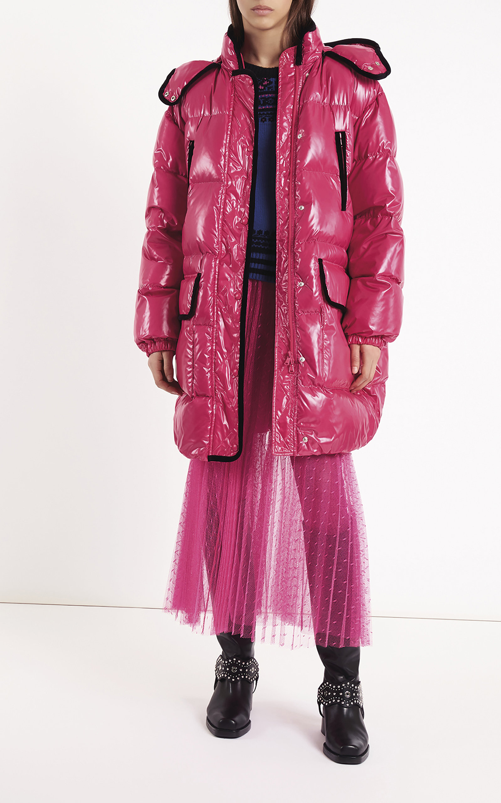 Contrast Trim Puffer Coat in Pink