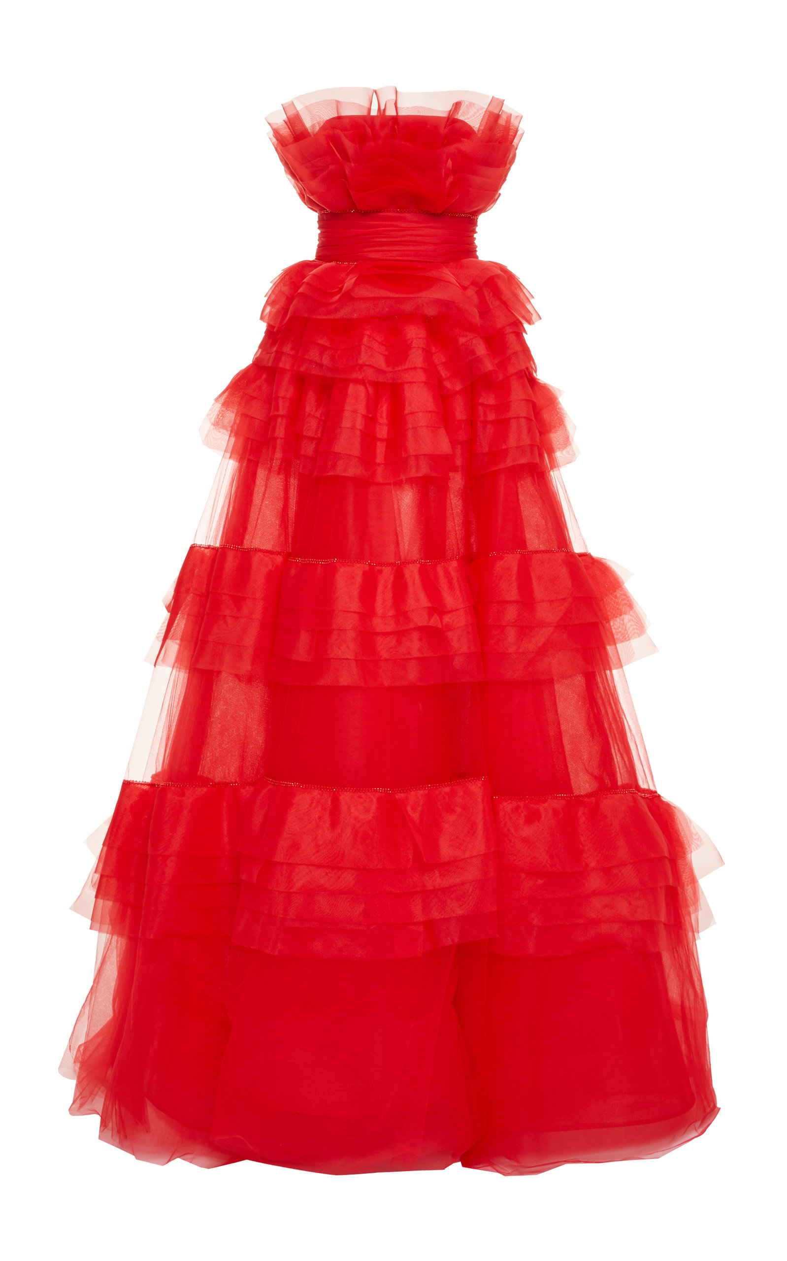 Organza Embroidered Tiered Ball Gown by Monique Lhuillier | Moda ...