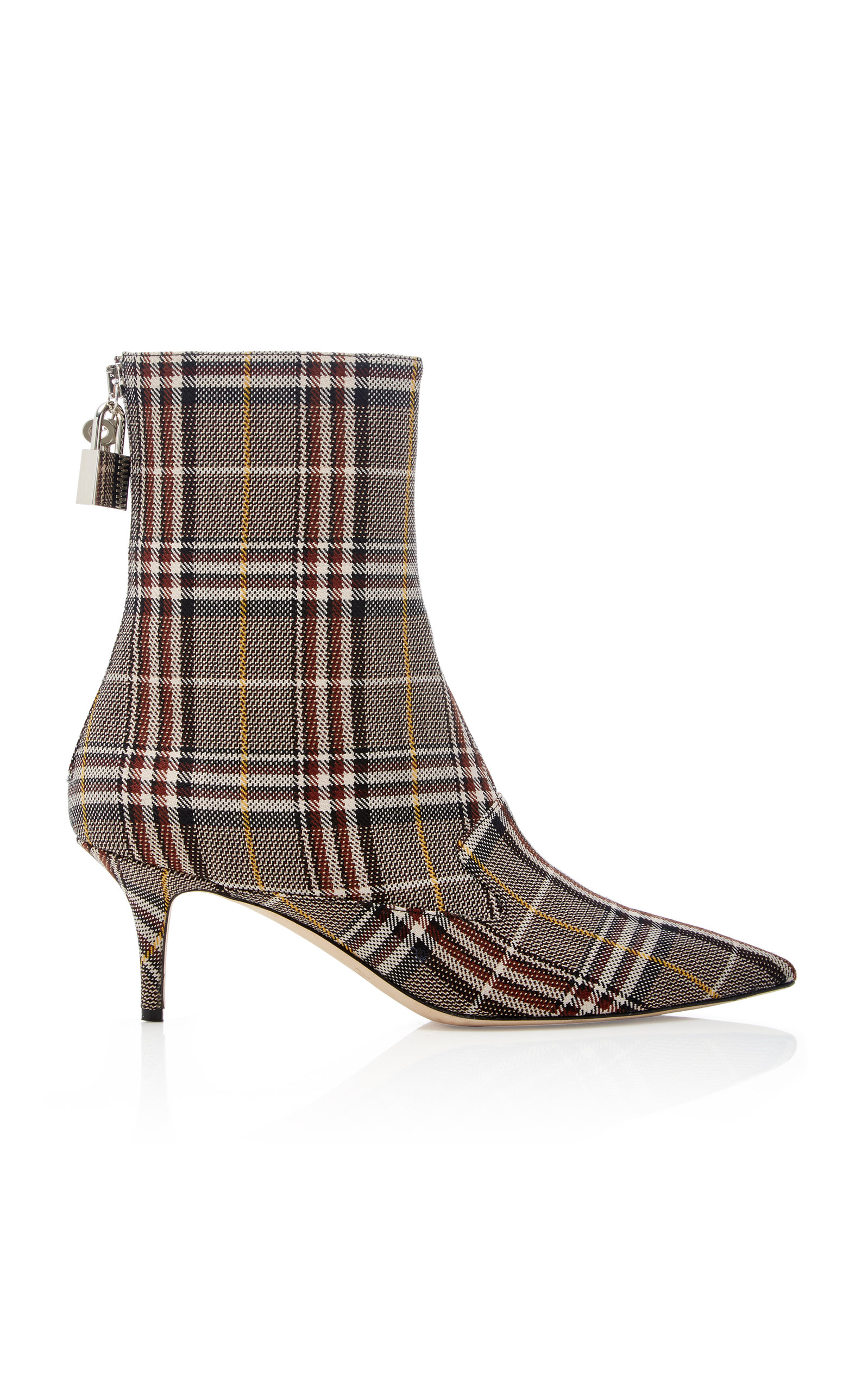 Lock Plaid Canvas Ankle Boots