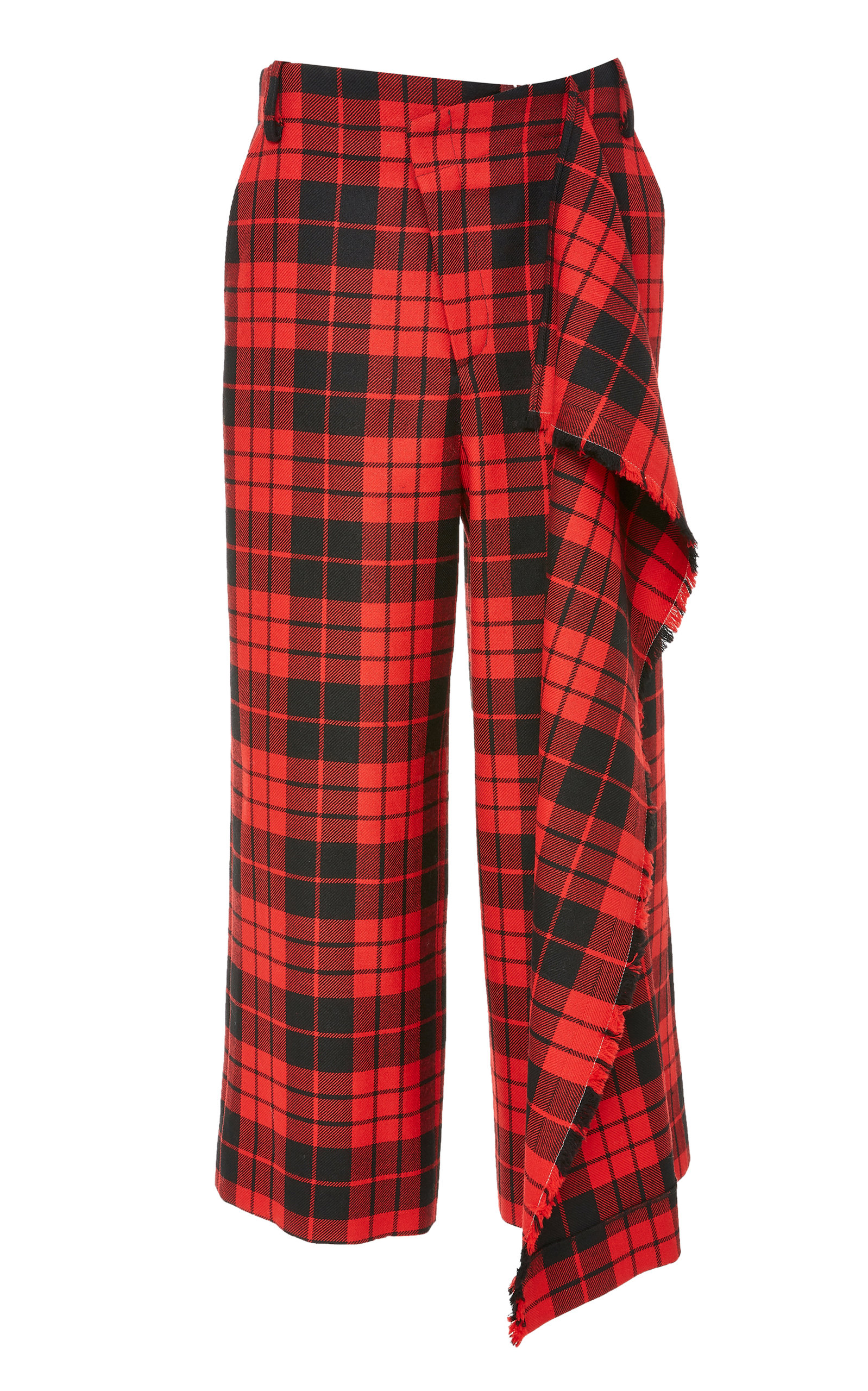 Cascade Slit Flared-Leg Wool Tartan Culotte Pants in Red