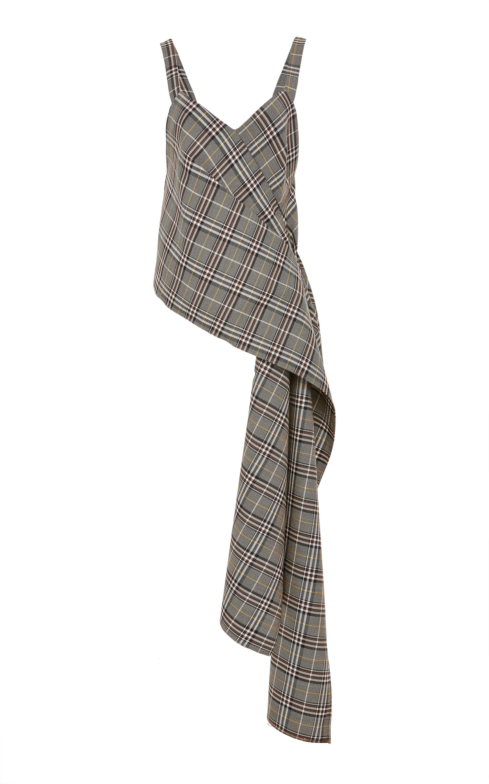 Sweetheart-Neck Sleeveless Plaid Side-Drape Wool-Blend Top
