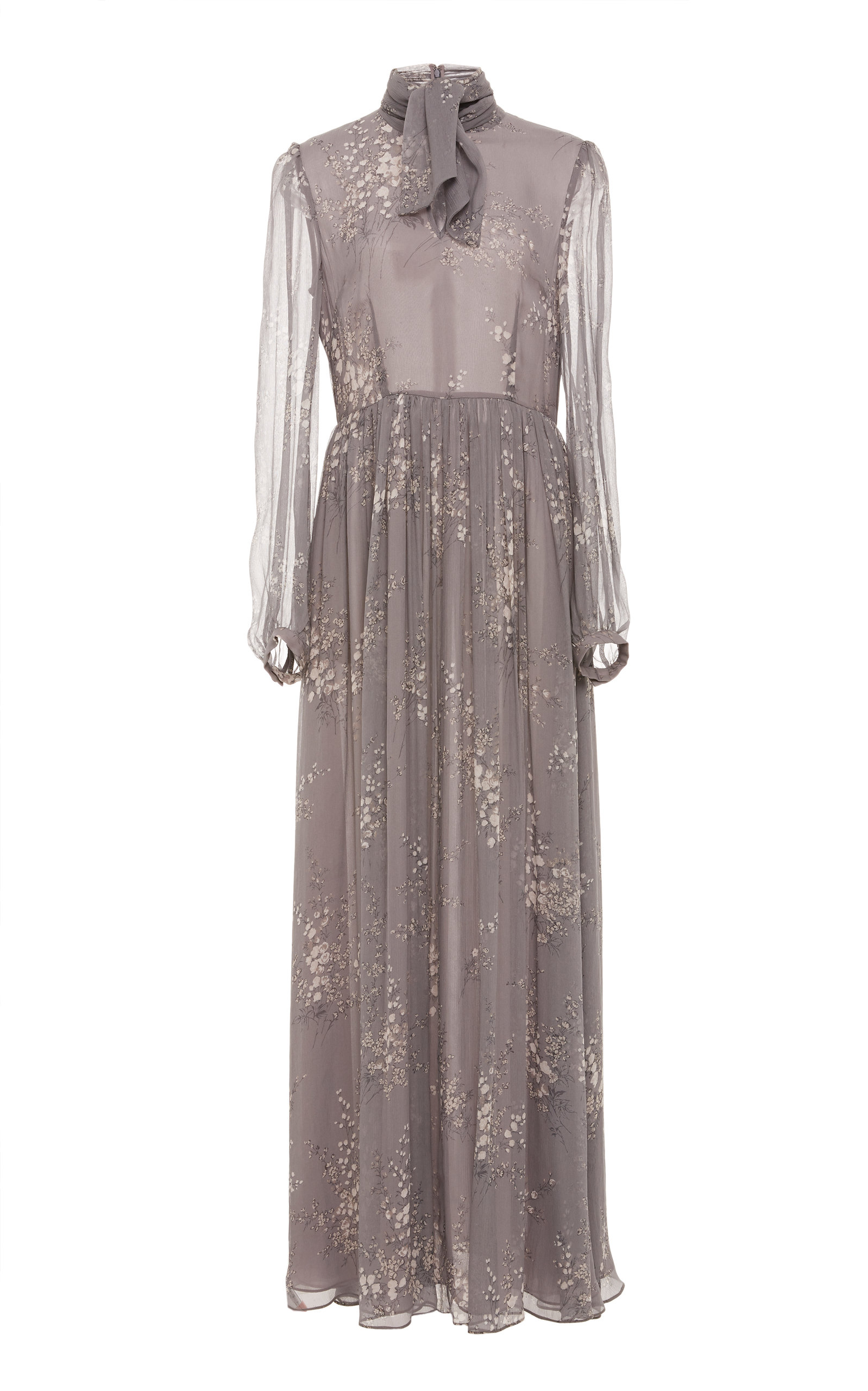 Tie-Neck Long-Sleeve Floral-Print Silk Crinkled Chiffon Long Dress in Grey