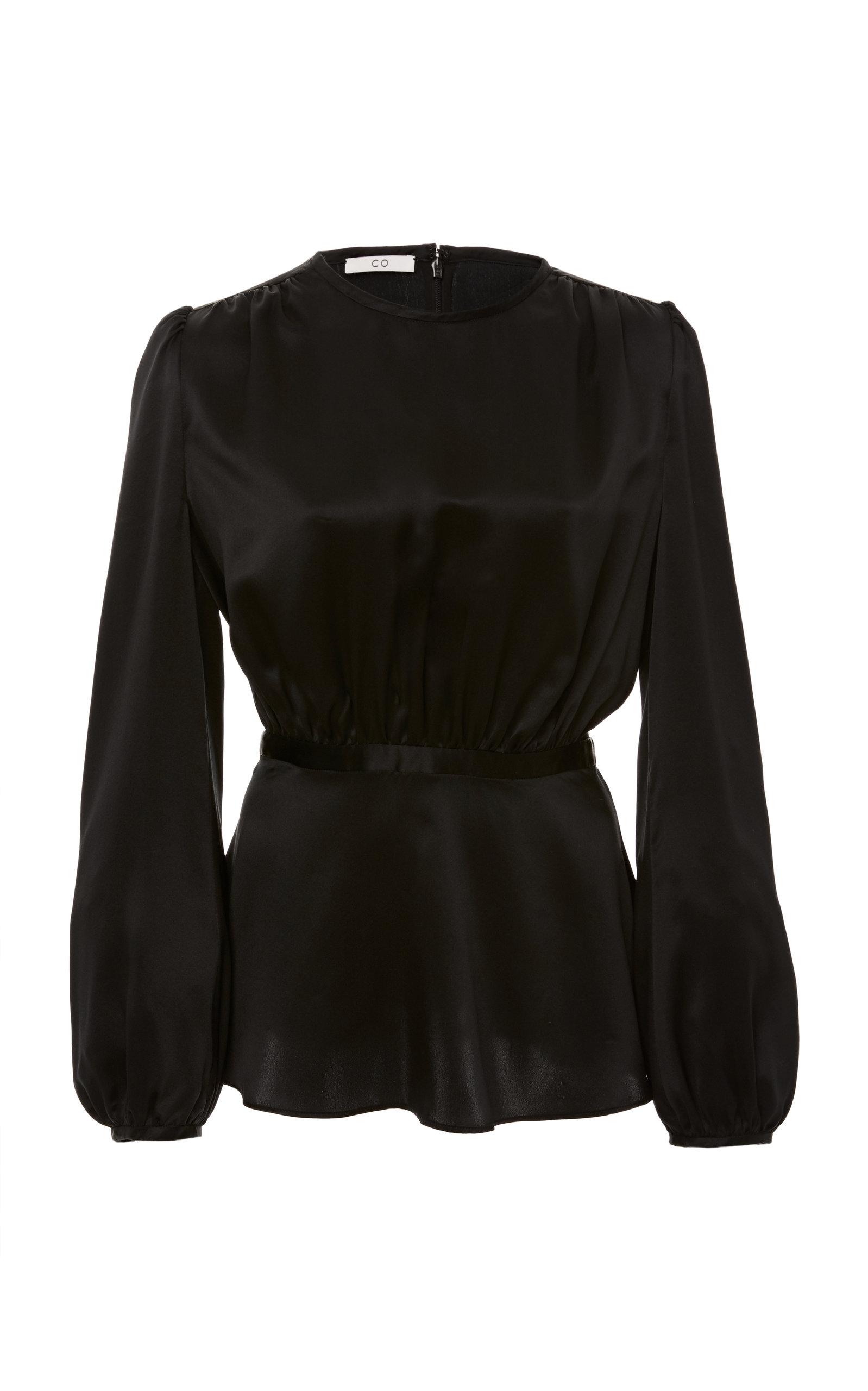 Jewel-Neck Long-Sleeve Crepe Back Satin Blouse in Black