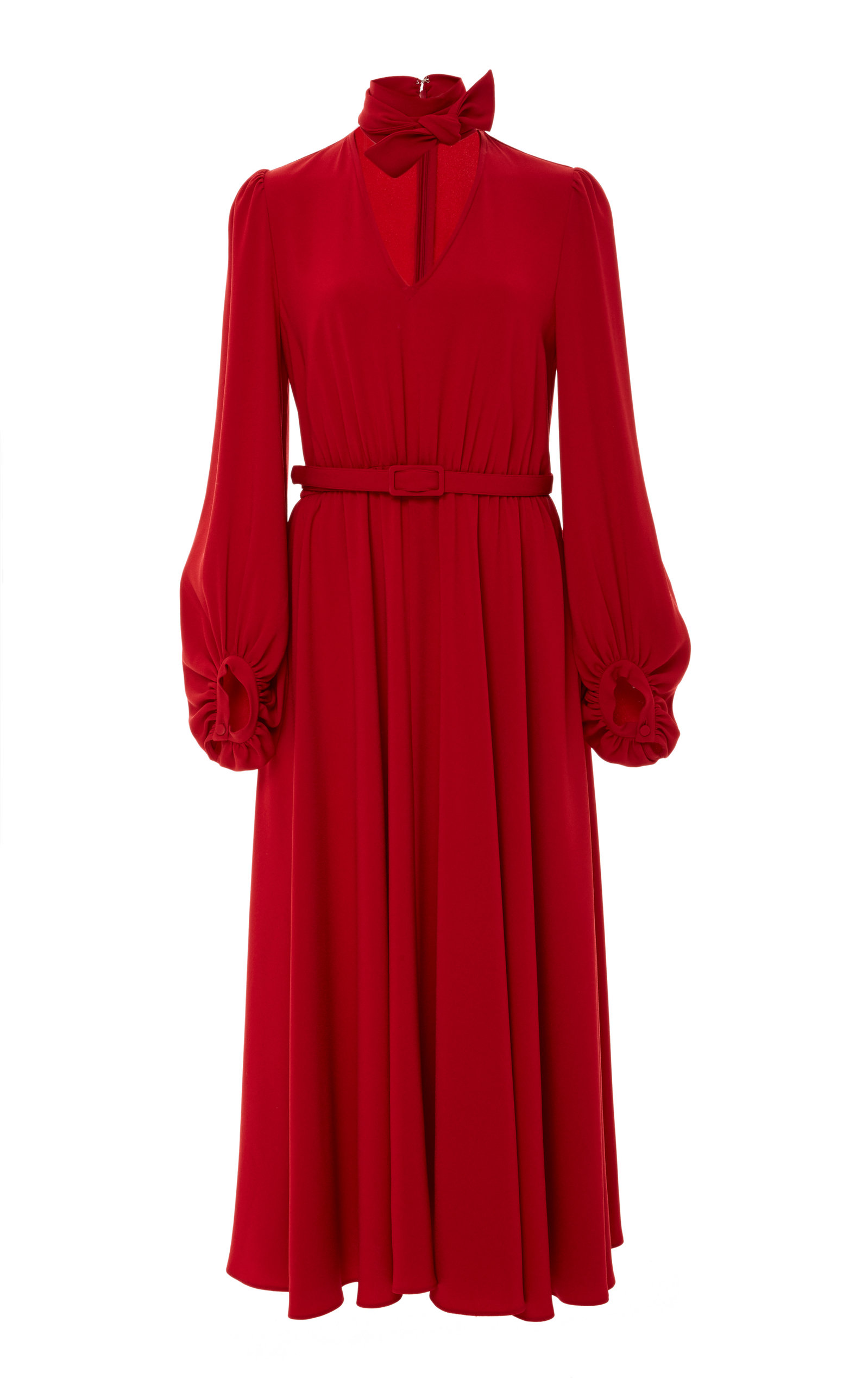 Tie-Neck Long-Sleeve Belted Japanese Crepe Midi Dress in Red