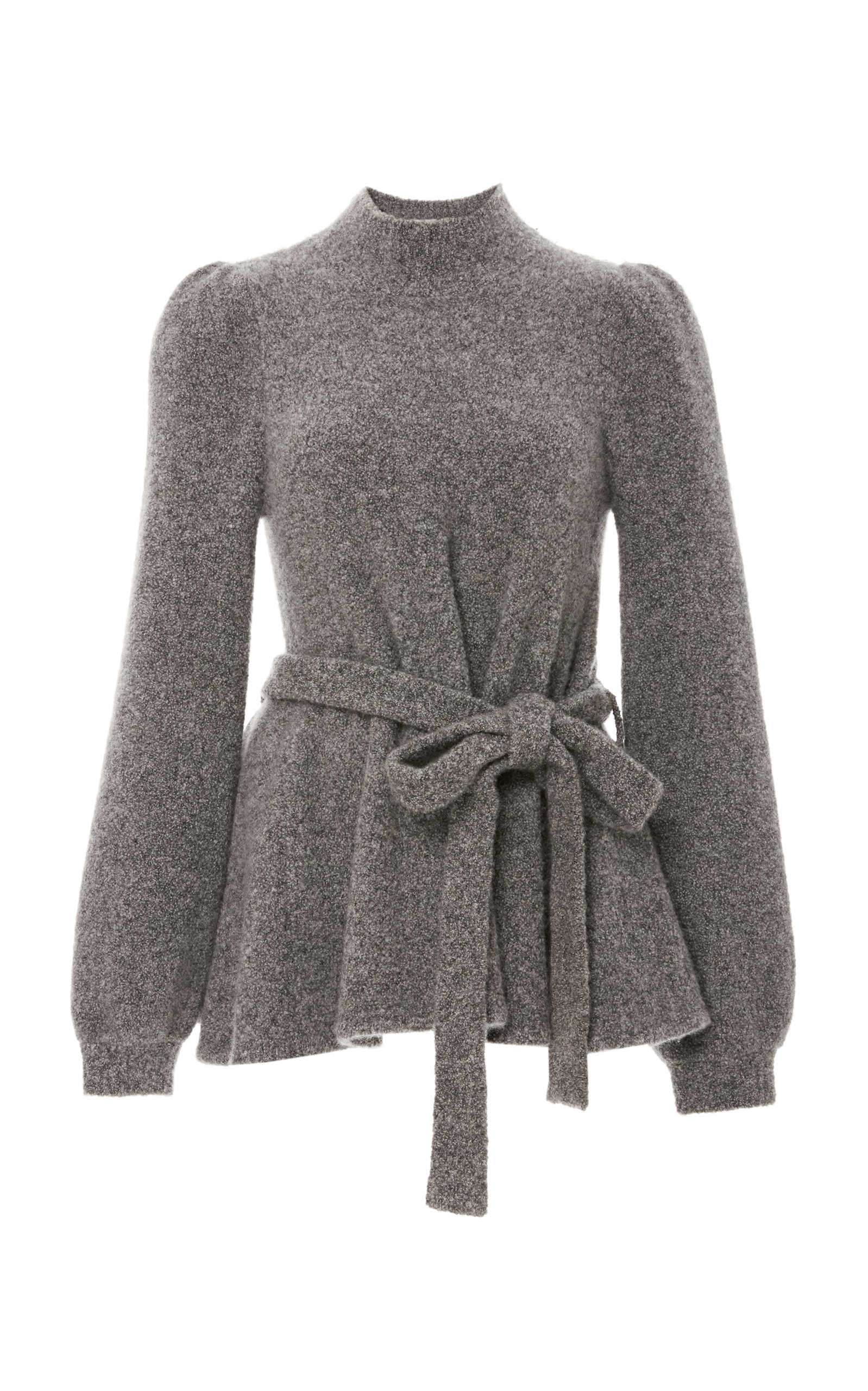 Mock-Neck Bell-Sleeve Tie-Waist Crepe Cashmere Knit Sweater in Grey