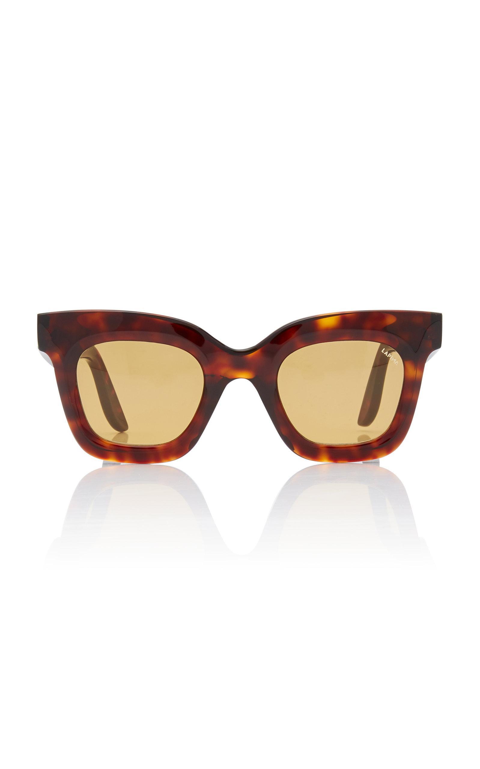 LAPIMA Lisa Square-Frame Tortoiseshell Acetate Sunglasses in Brown
