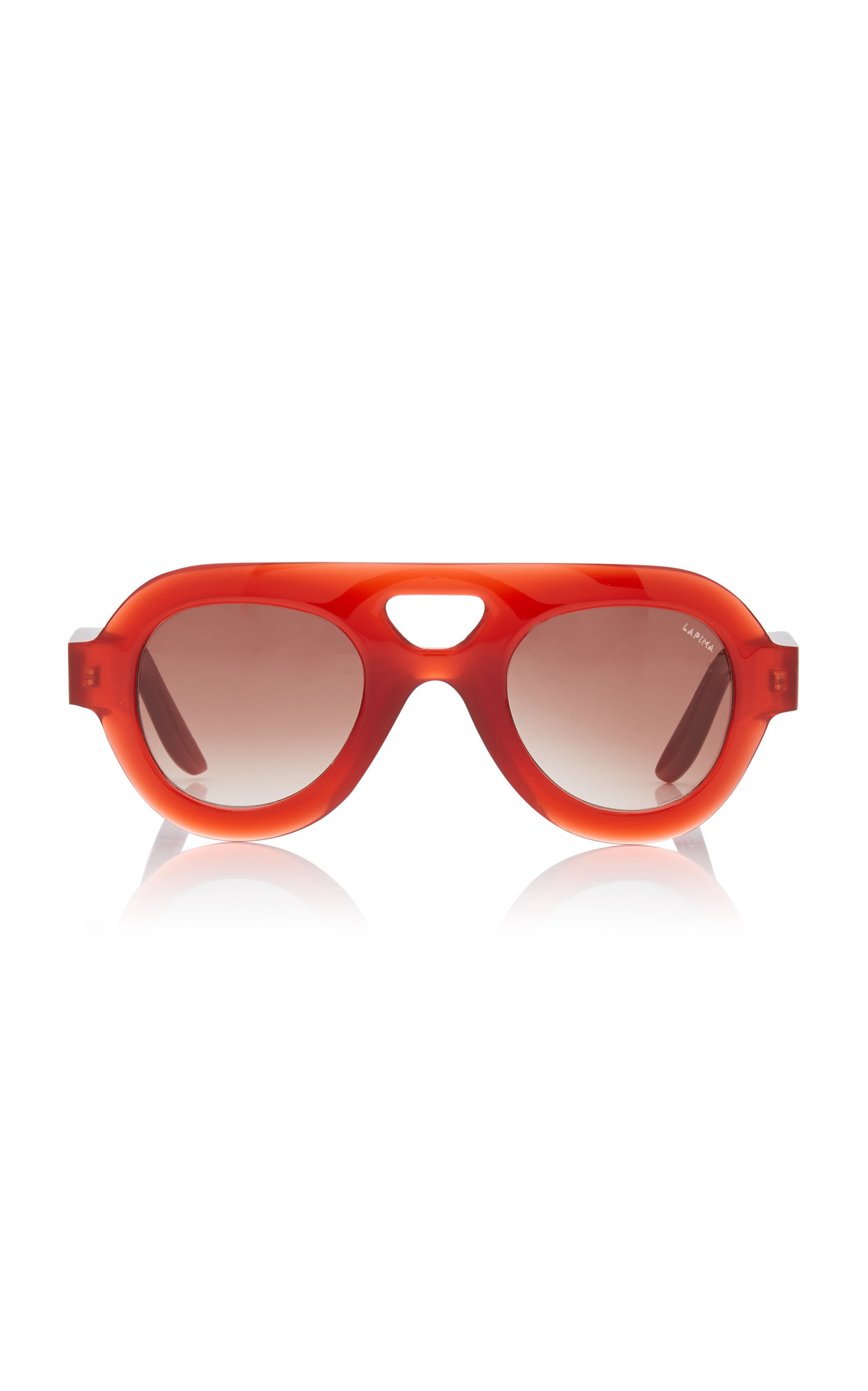 LAPIMA Milly Oversized Aviator-Style Acetate Sunglasses in Red