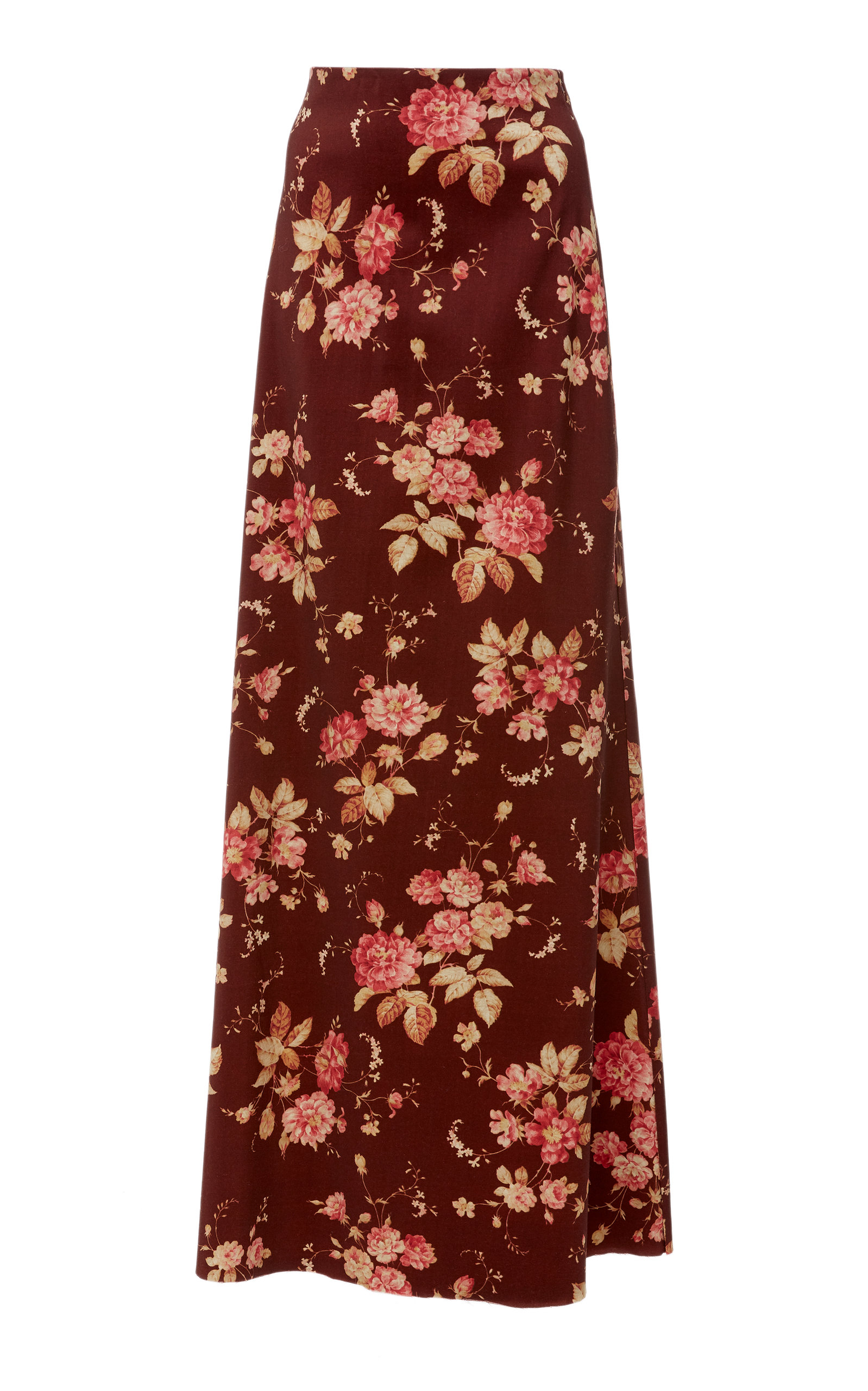 Floral-Print Wool-Blend Twill Maxi Skirt in Burgundy