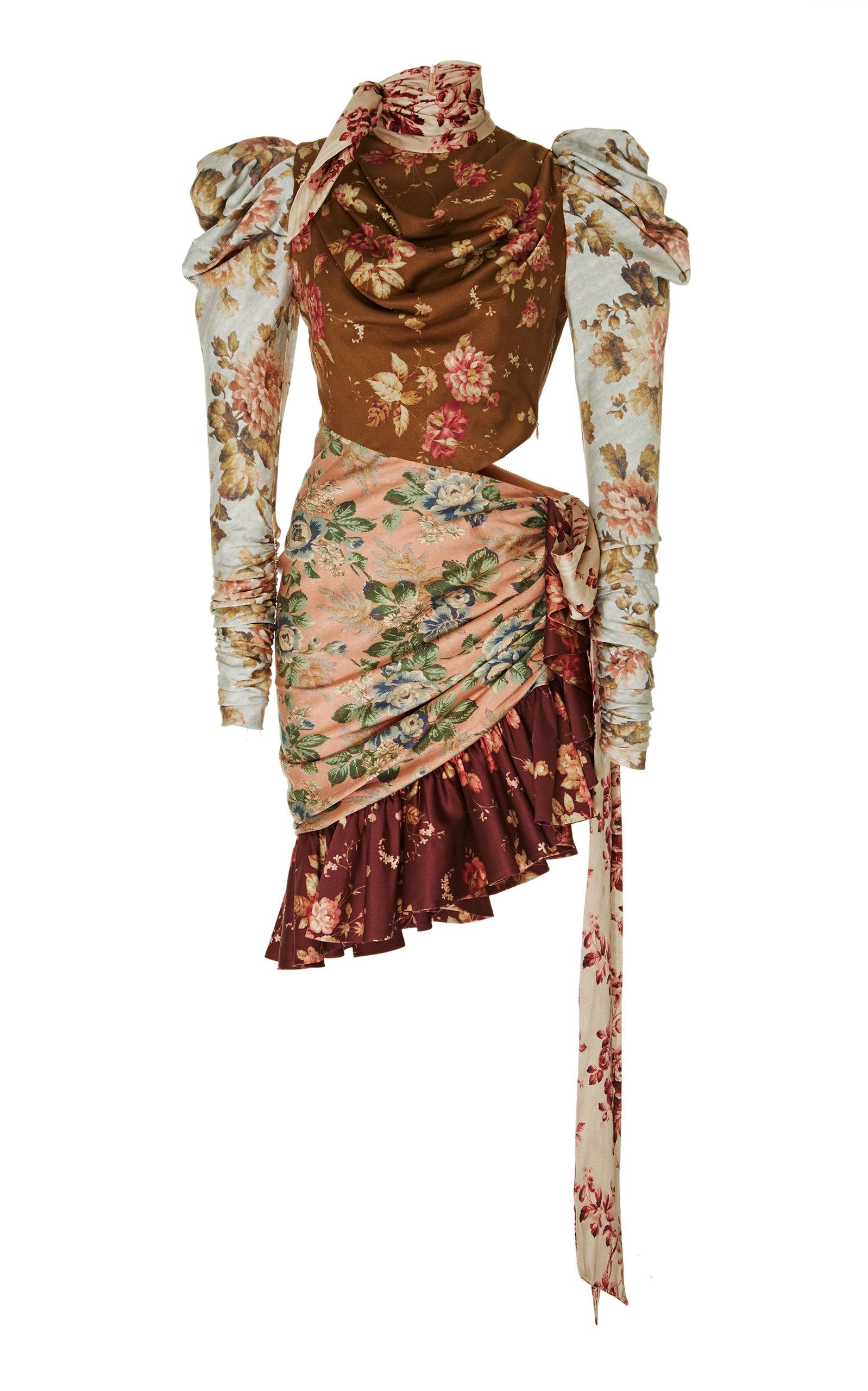ZIMMERMANN Tempest Tucked Contour Silk-Blend Dress in Brown