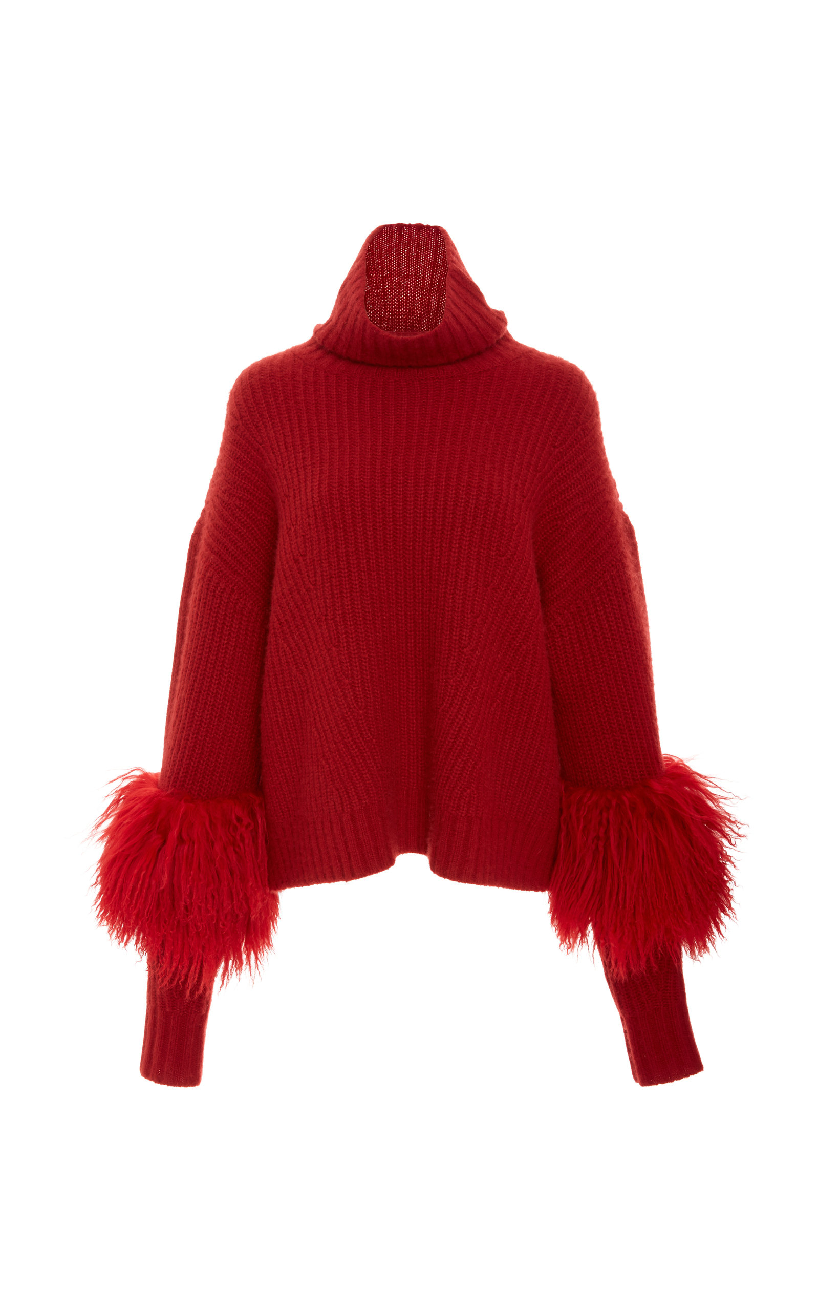 Shearling-Detailed Cashmere Turtleneck Sweater, Red