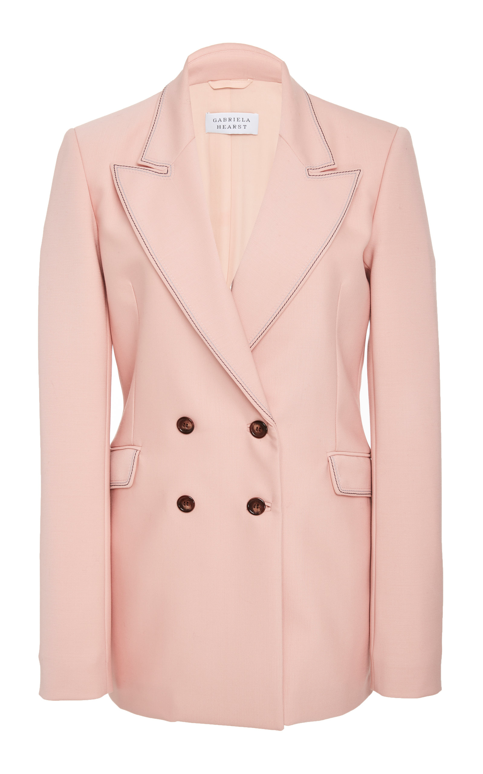 Angela Double-Breasted Wool-Blend Blazer, Pink