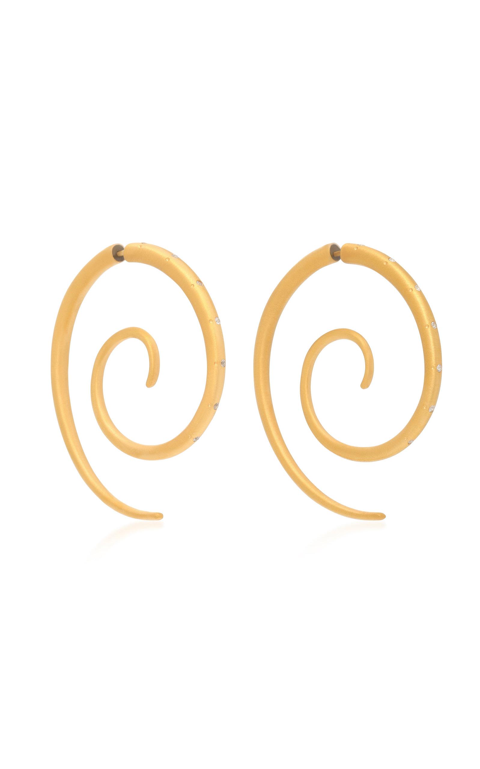 MARIANNA GOULANDRIS SPIRAL GOLD VERMEIL SAPPHIRE EARRINGS