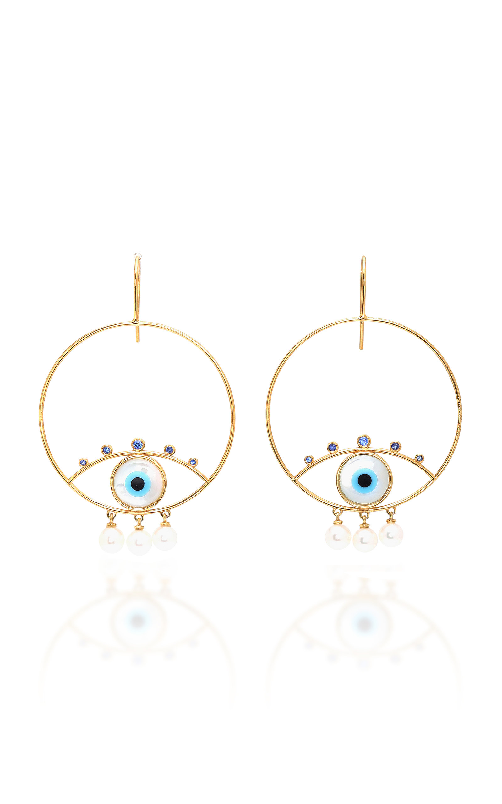 MARIANNA GOULANDRIS PEARLY EYES GOLD VERMEIL SAPPHIRE AND PEARL EARRINGS