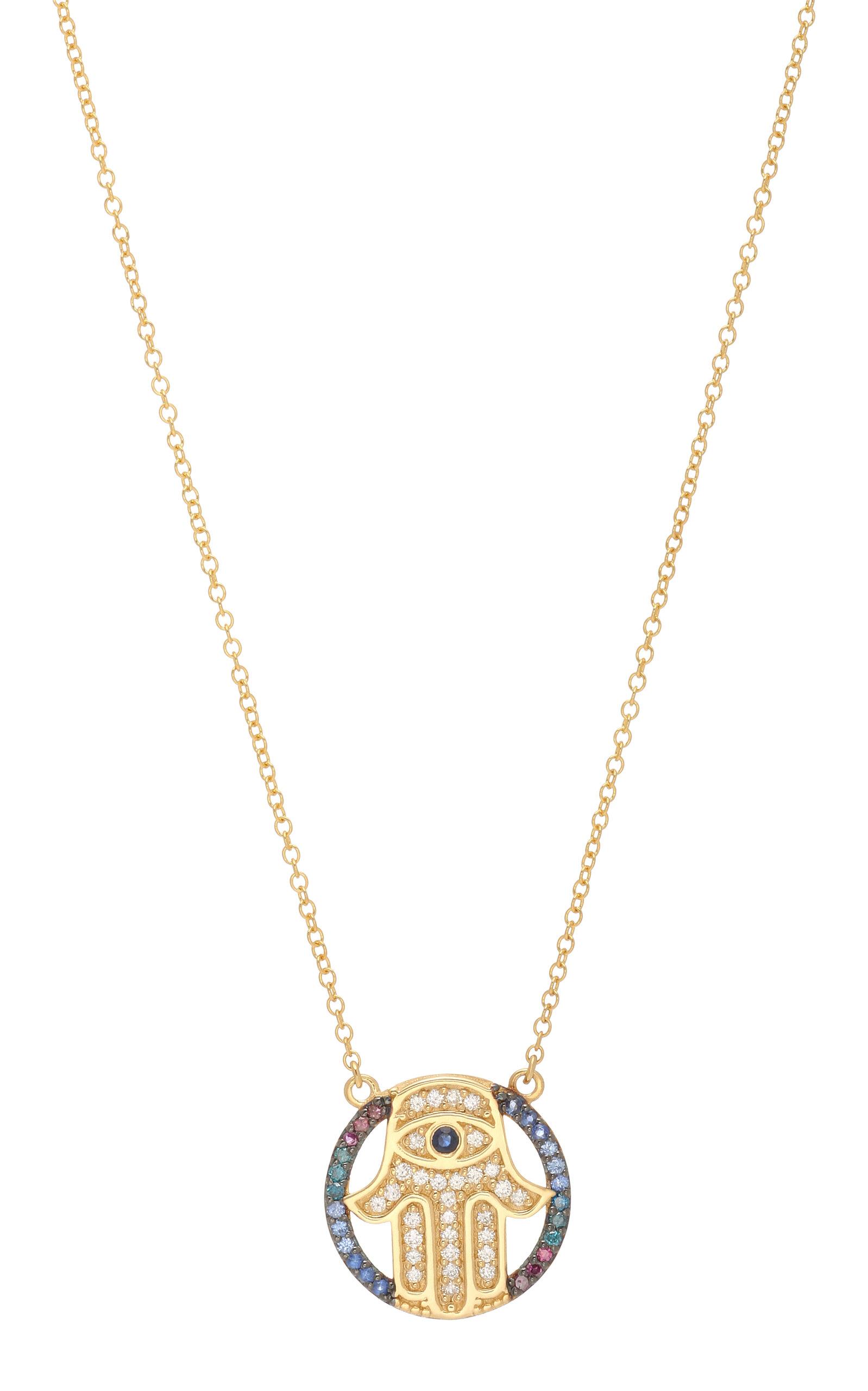 Mini Hamza 14K Gold Diamond and Sapphire Necklace Marianna Goulandris HhduDn2cu8