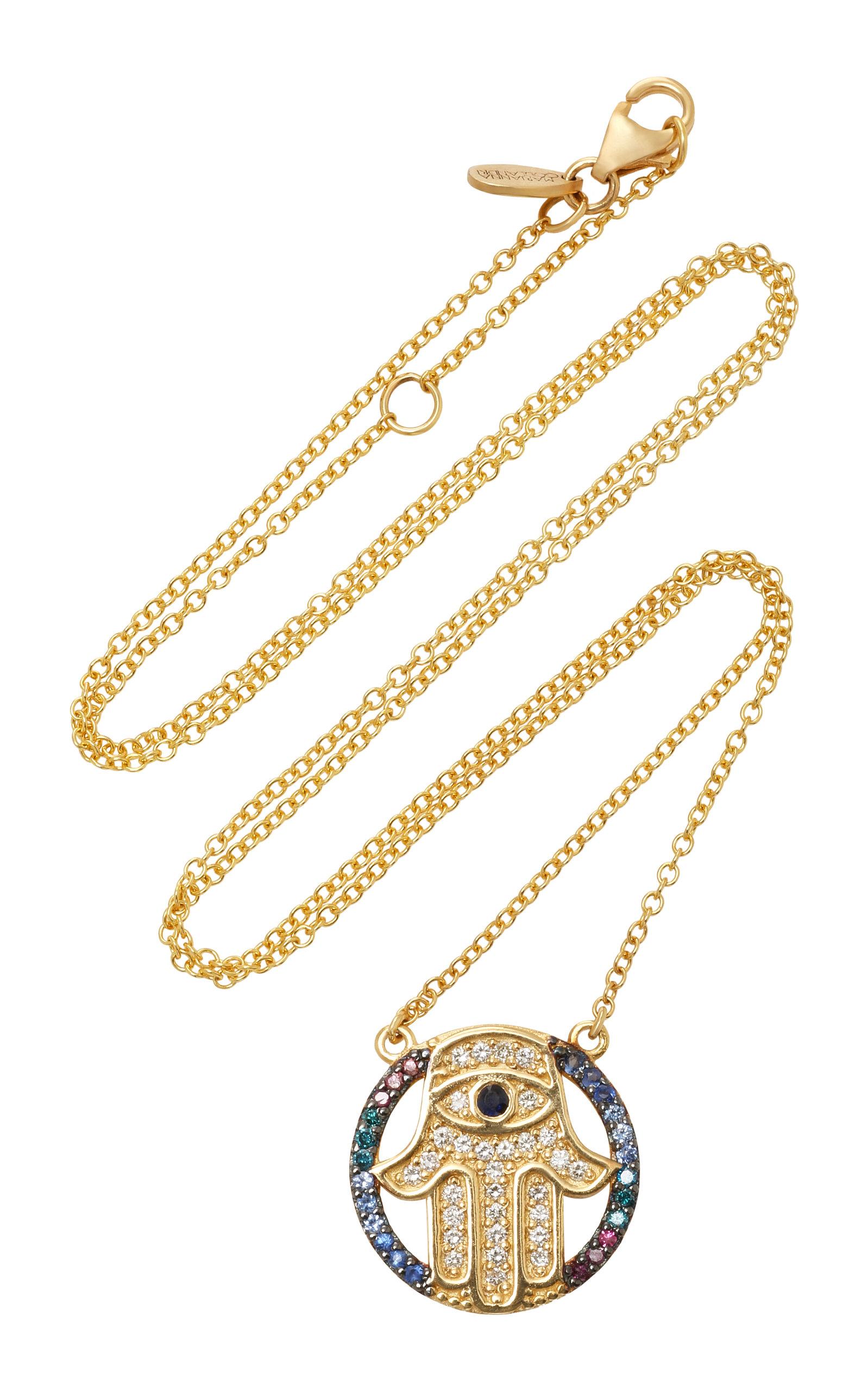 MARIANNA GOULANDRIS MINI HAMZA 14K GOLD DIAMOND AND SAPPHIRE NECKLACE