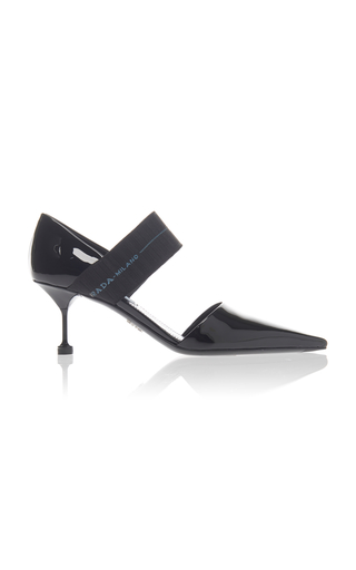 a47f7acfd75 PradaStretch Knit-Trimmed Patent-Leather Pumps