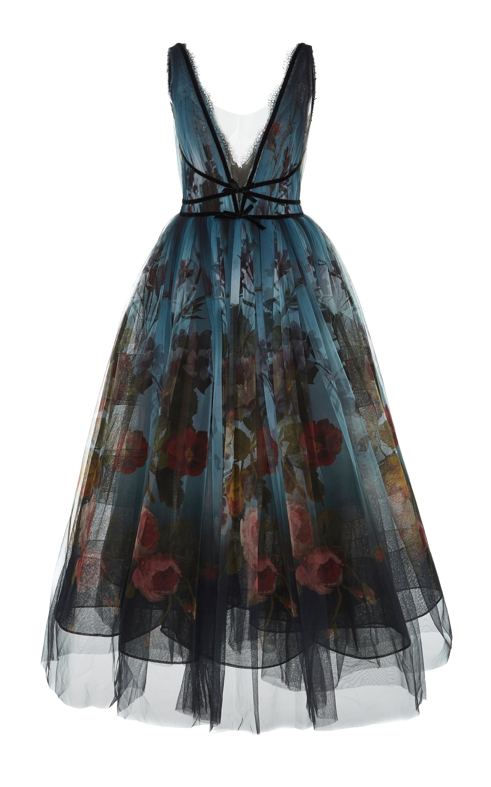 MARCHESA Ombre Floral Print Tulle Tea Length Dress in Blue