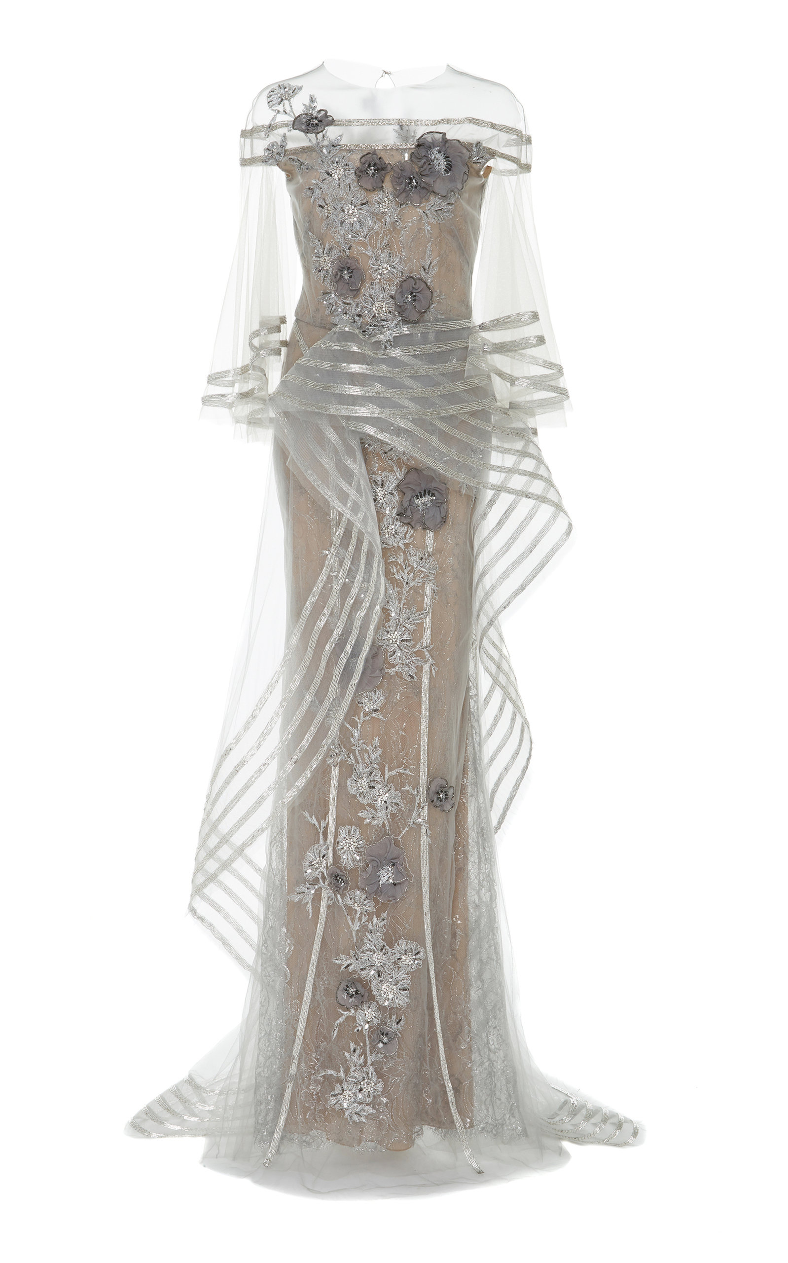 9c1911d6 Metallic Floral-Appliqué Tulle Gown by Marchesa | Moda Operandi
