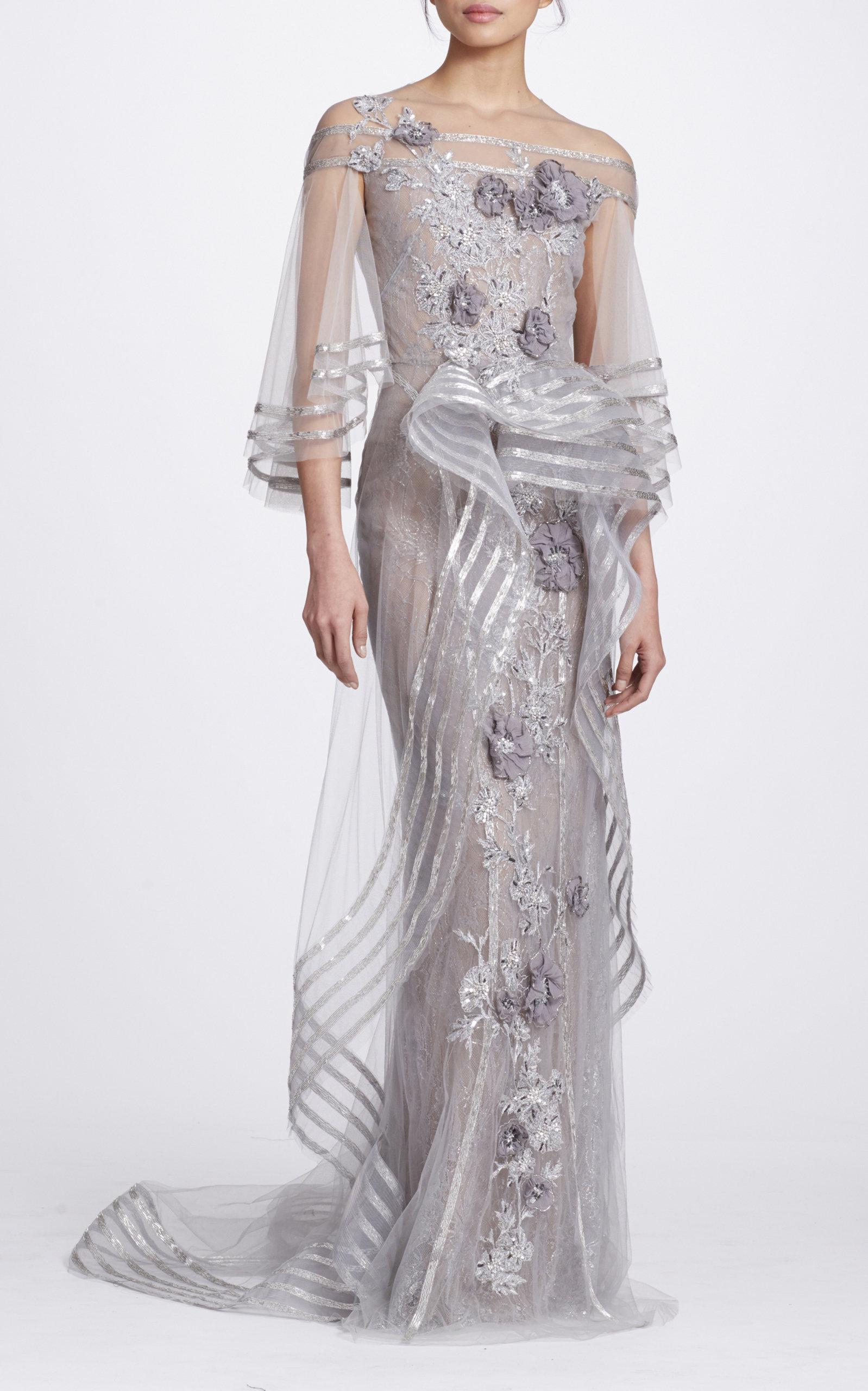 c92dab36 MarchesaMetallic Floral-Appliqué Tulle Gown. CLOSE. Loading. Loading.  Loading. Loading. Loading