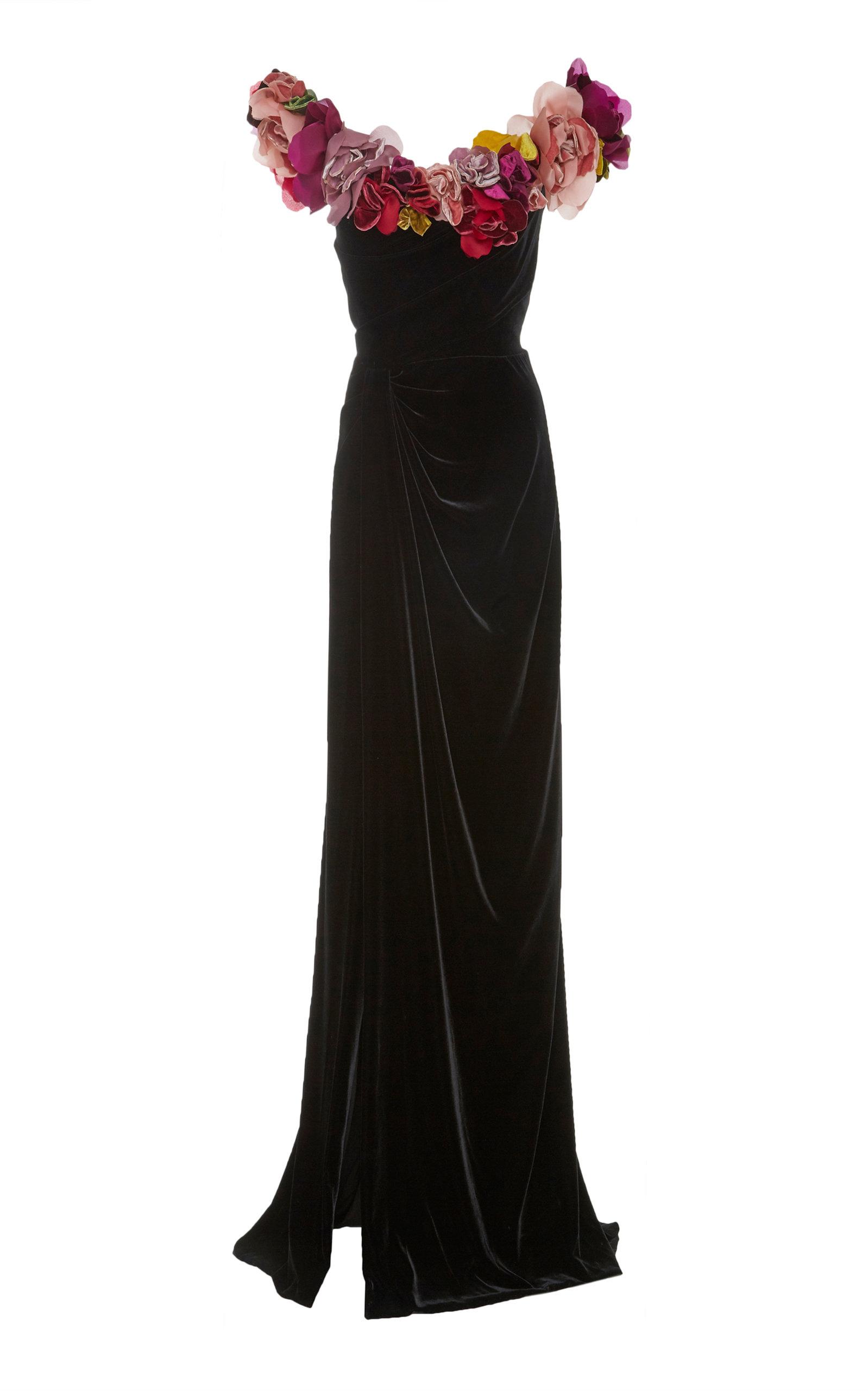 Off-The-Shoulder 3-D Flower Corsage Velvet Column Evening Gown, Black from District 5 Boutique