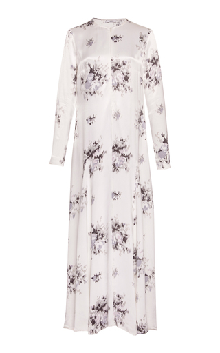 Grey flower print satin maxi dress