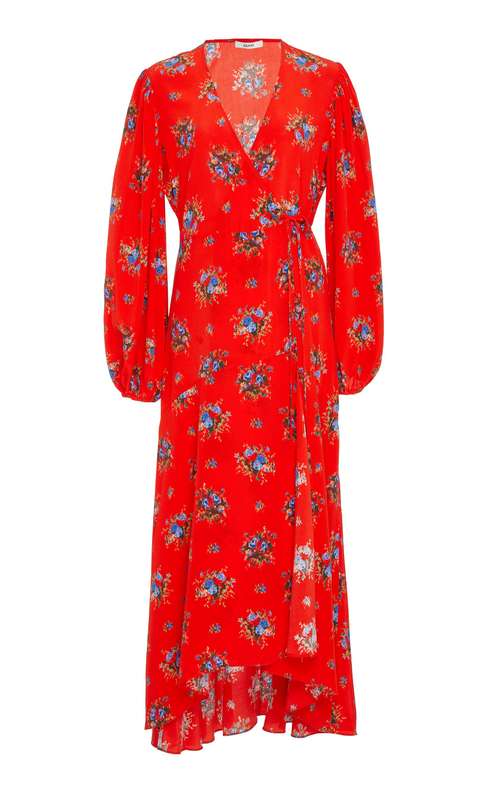 15647ad0 GanniKochhar Floral-Print Silk Crepe De Chine Wrap Dress. CLOSE. Loading