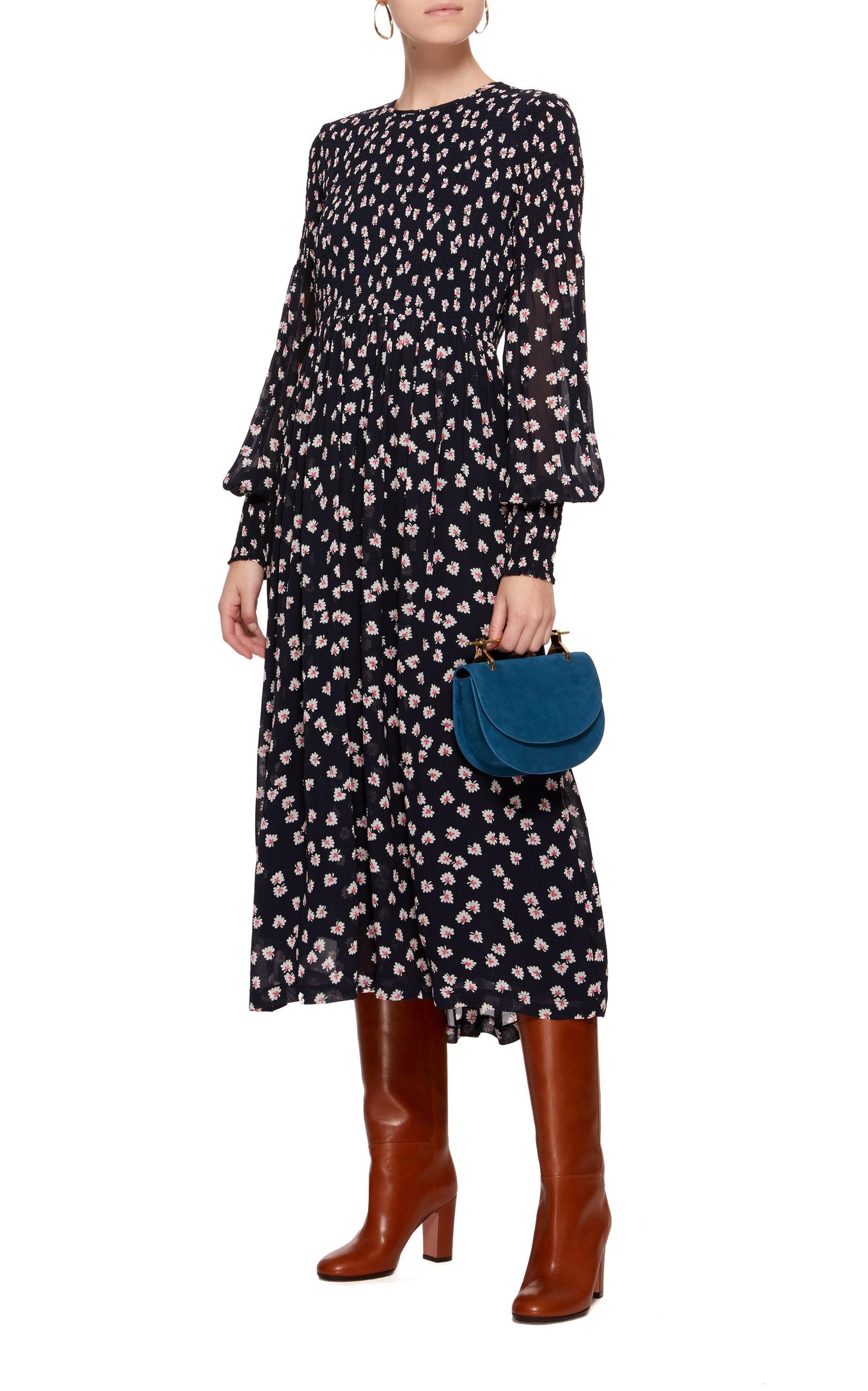 9efd0d61 GanniRometty Smocked Floral-Print Georgette Midi Dress. CLOSE. Loading