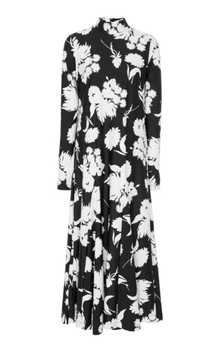 3c8a4ca8 GanniAlameda Pleated Floral-Print Stretch-Knit Maxi Dress