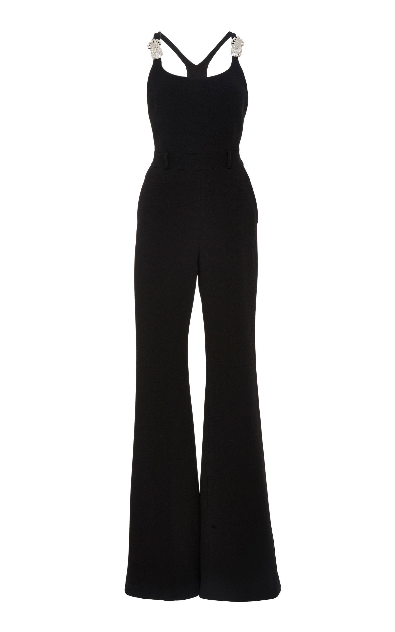 Scoop-Neck Thin-Strap Flared-Leg Jumpsuit W/ Pineapple Crystal-Embellished, Black
