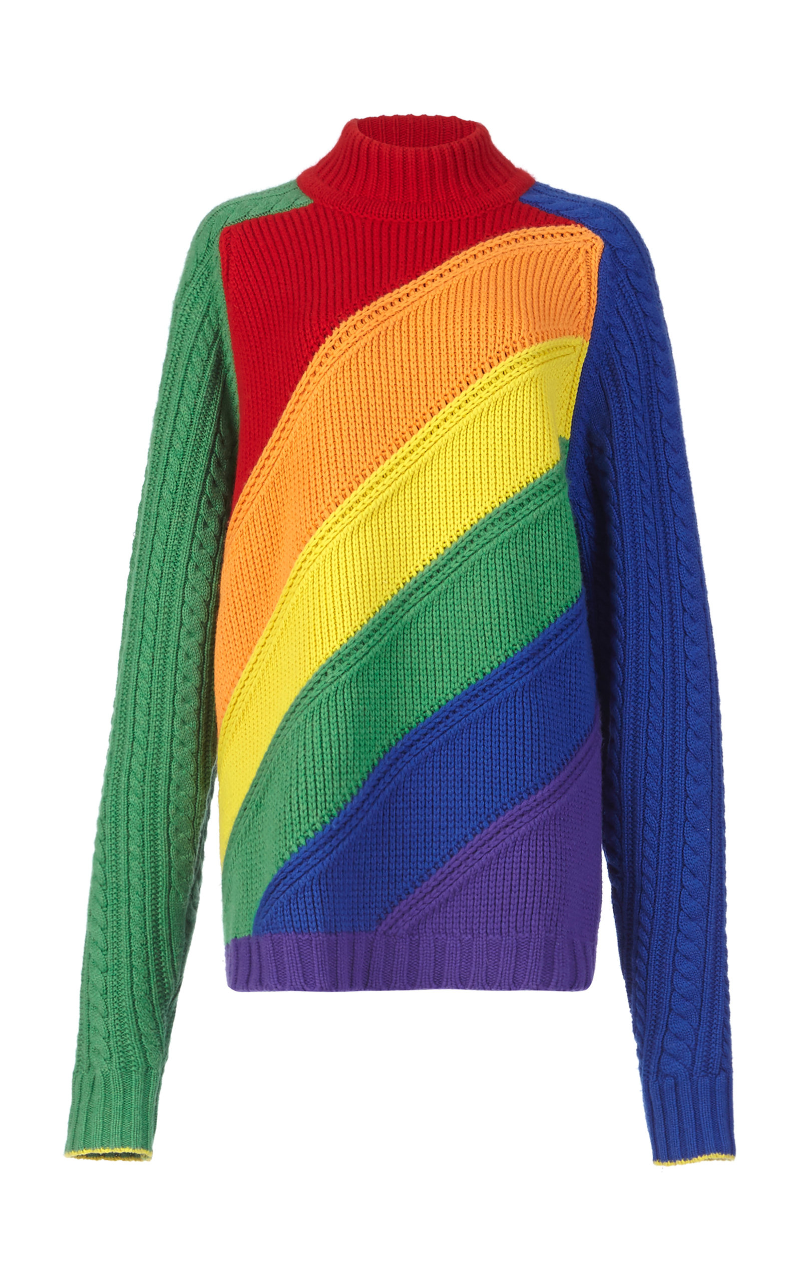 Rainbow Wool & Cashmere Turtleneck Sweater, Multi