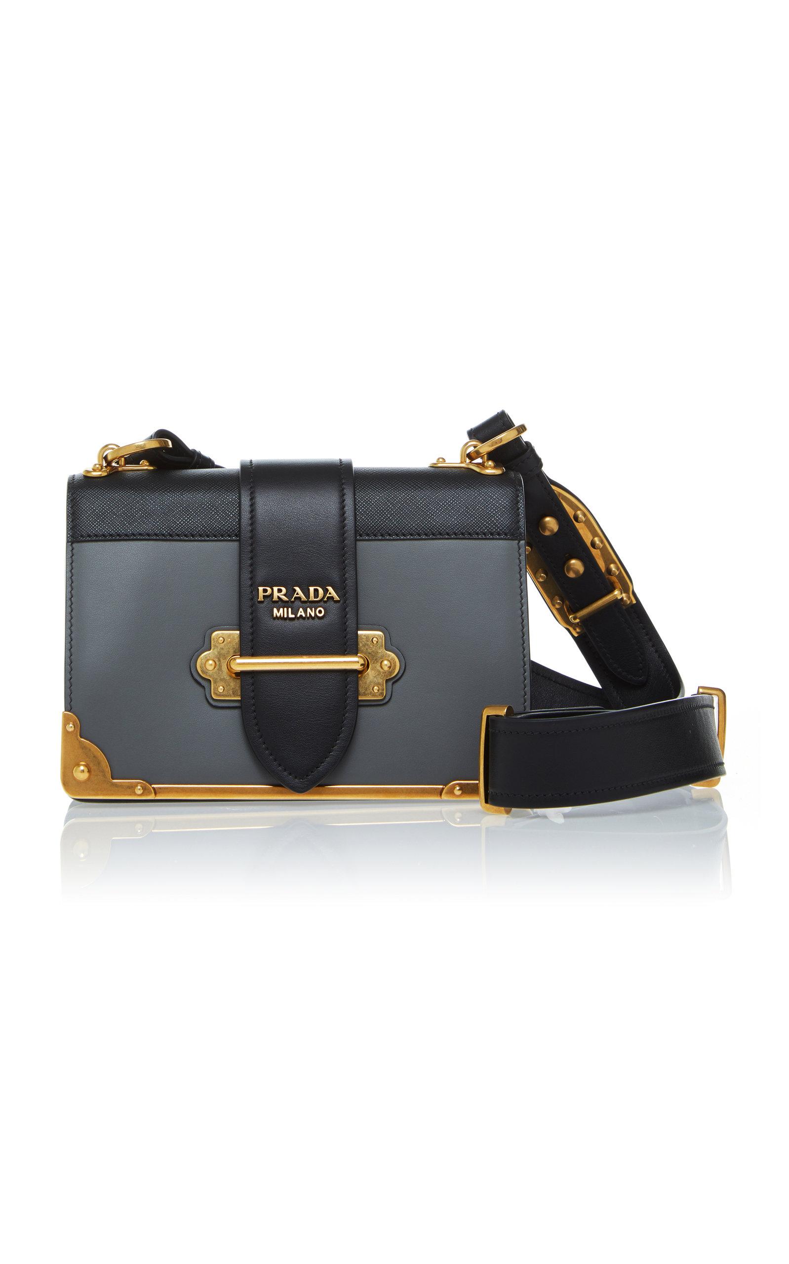 c68c8aefaf24 PradaCahier Two-Tone Leather Shoulder Bag. CLOSE. Loading