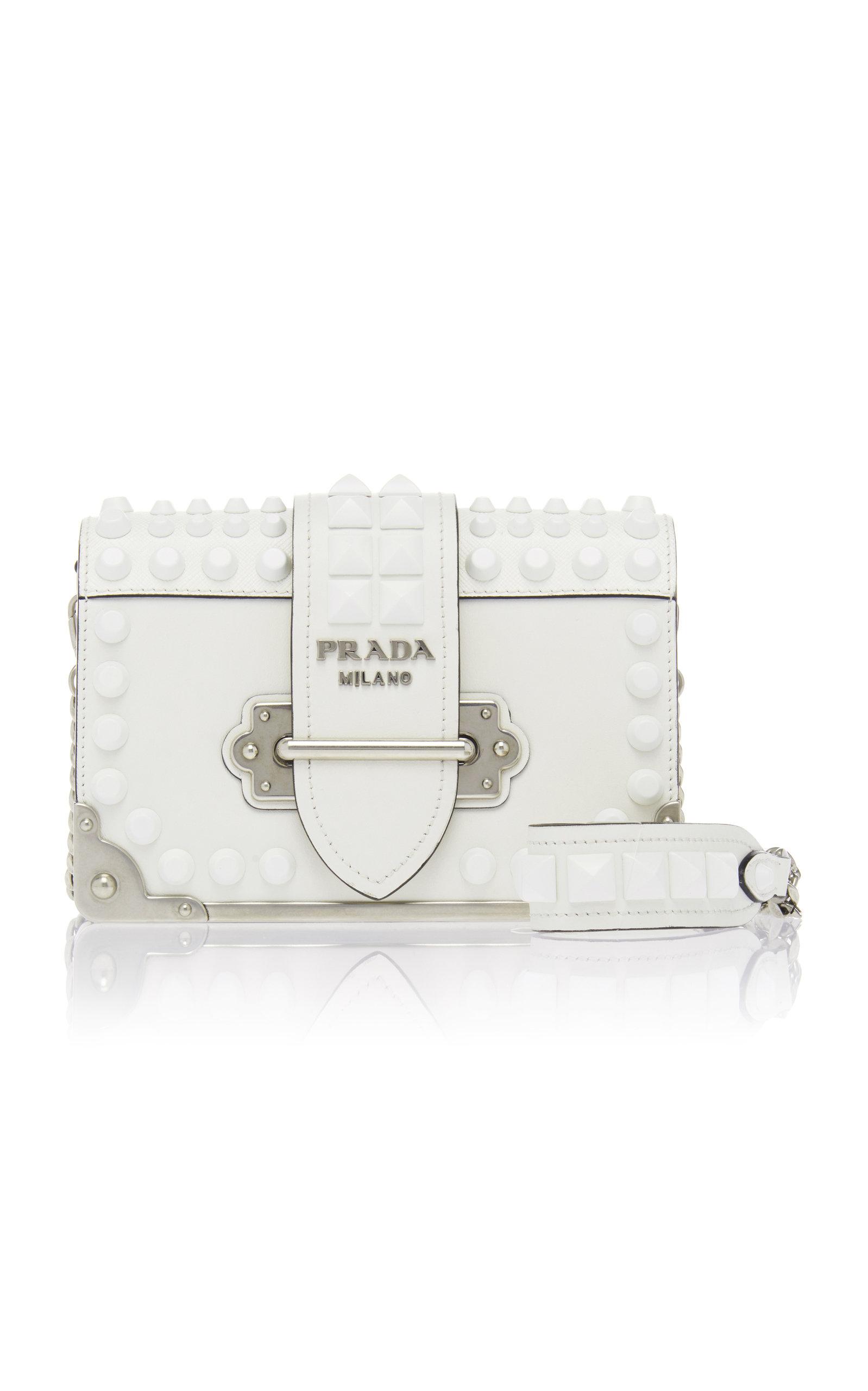 dbf516f9796a Embellished Cahier Leather Shoulder Bag by Prada | Moda Operandi