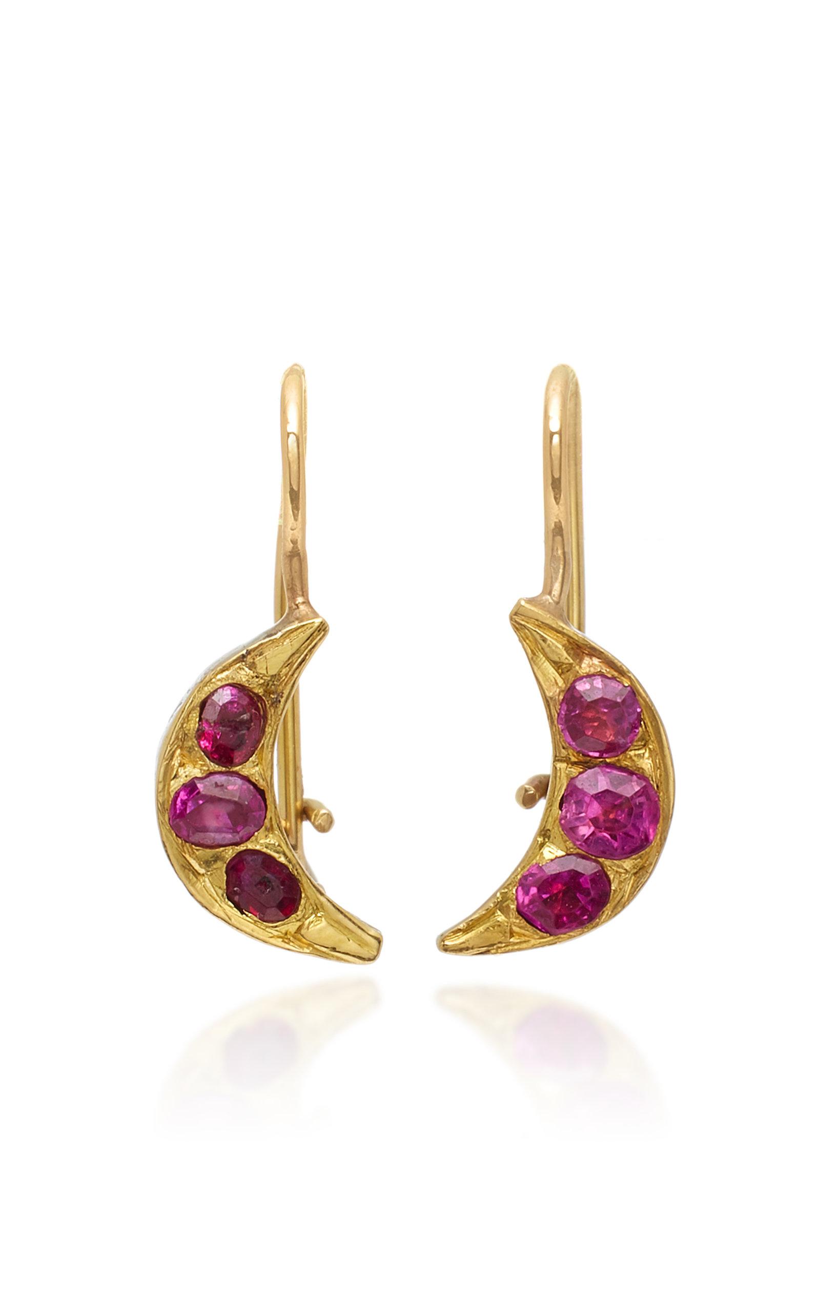 RENEE LEWIS CRESCENT MOON 18K GOLD RUBY EARRINGS