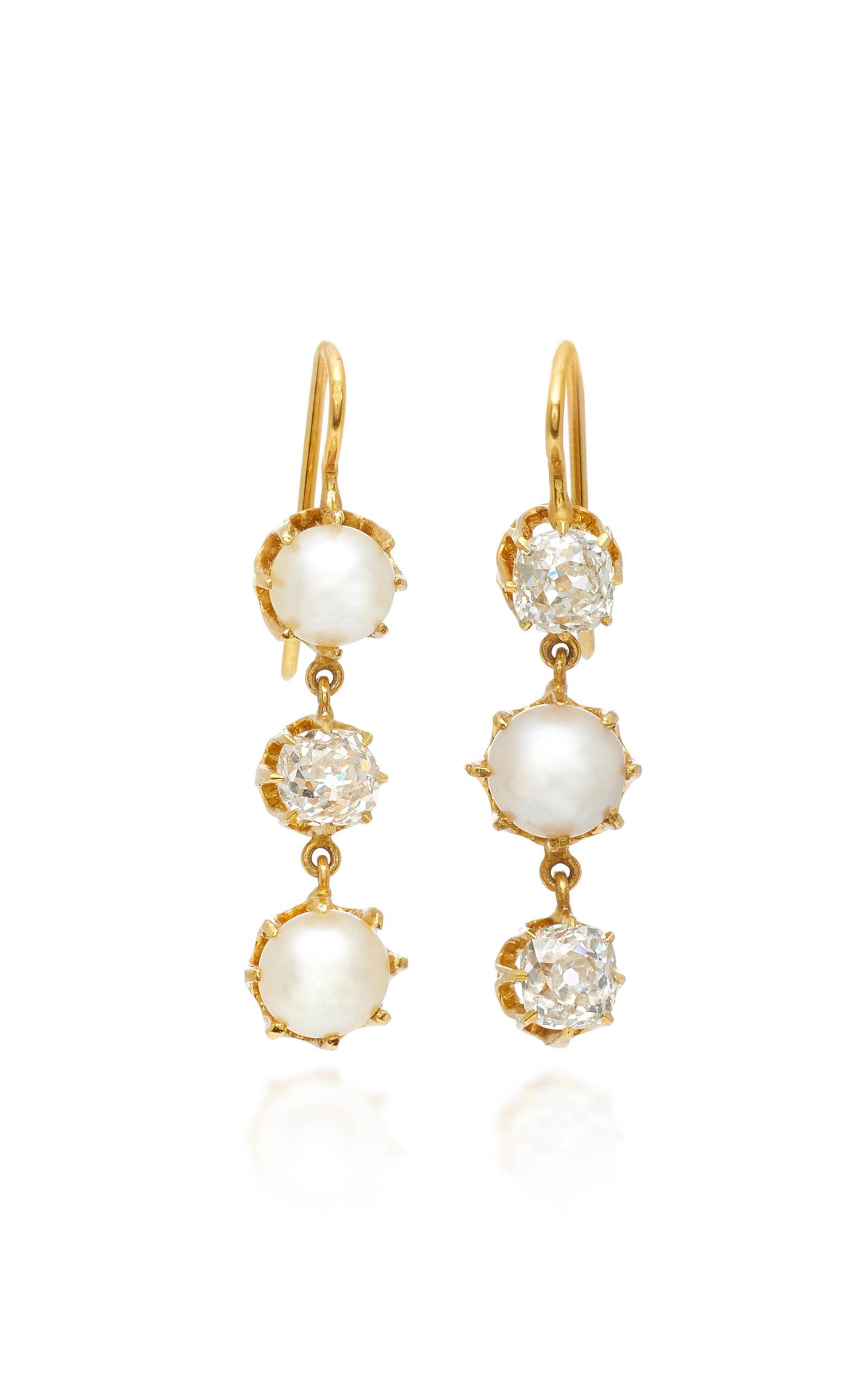 RENEE LEWIS 18K GOLD PEARL AND DIAMOND EARRINGS