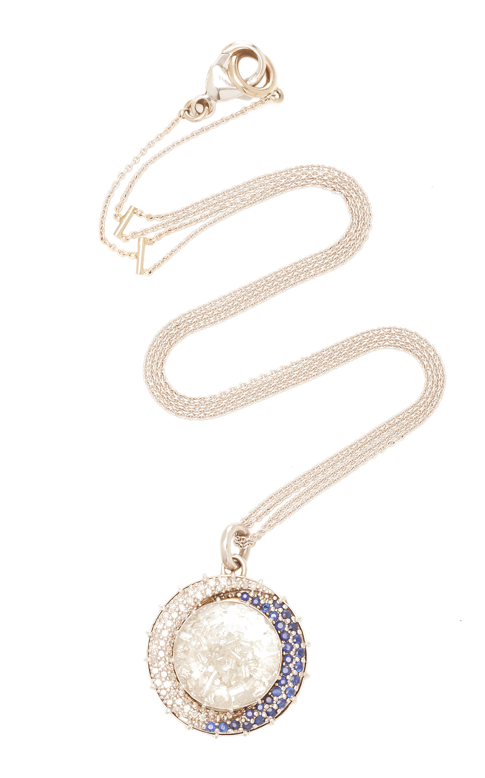 RENEE LEWIS SHAKE 18K GOLD DIAMOND AND SAPPHIRE NECKLACE