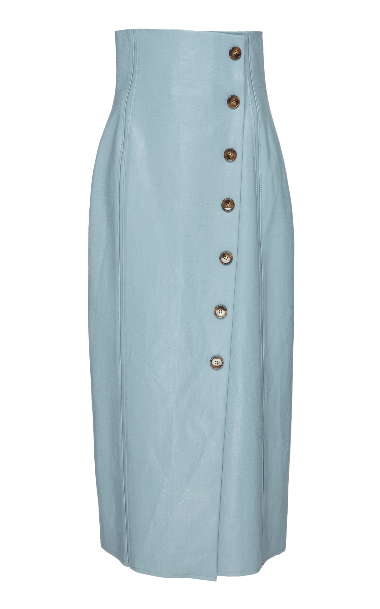 Scout Light Blue Faux-Leather Midi Skirt