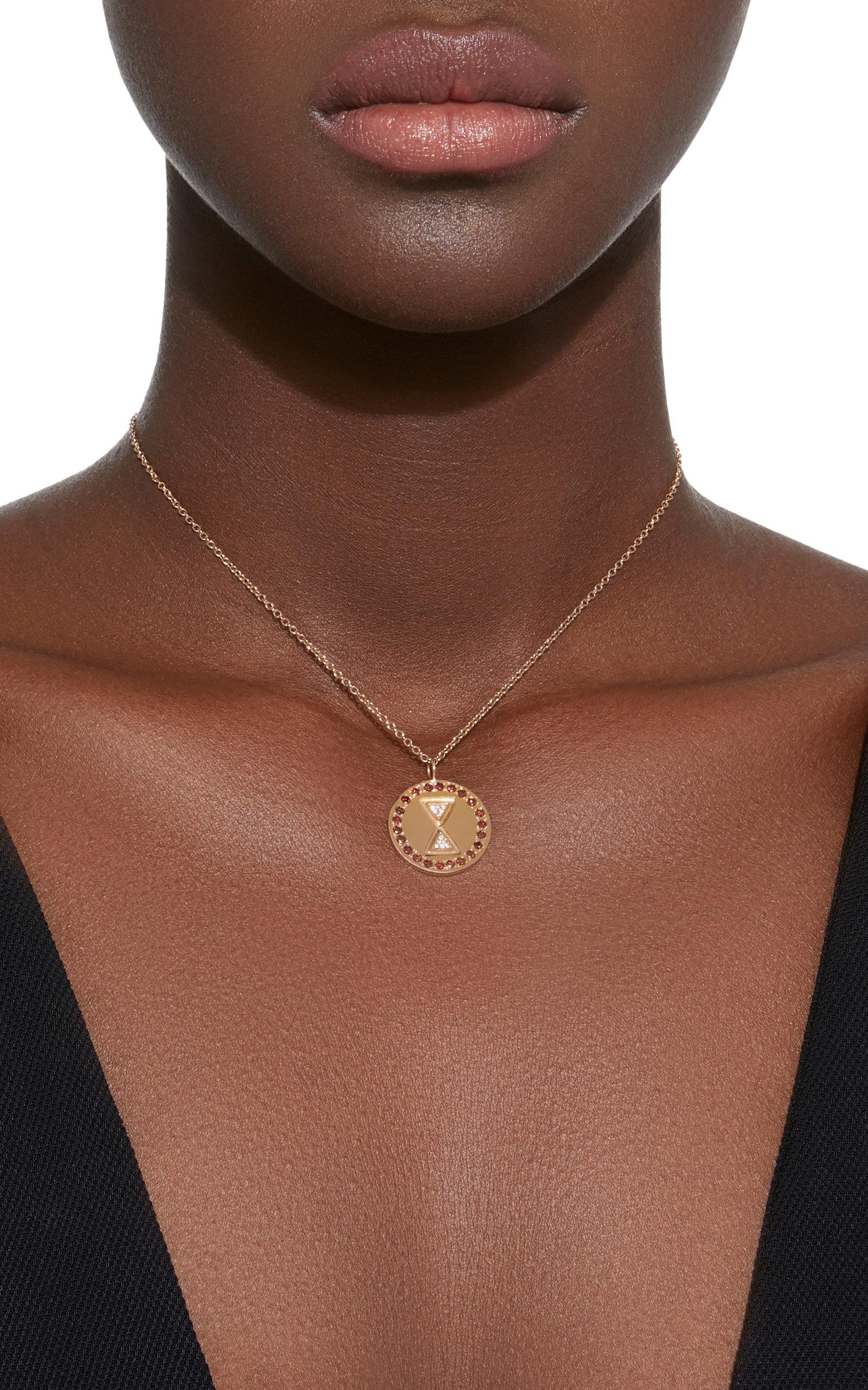 Unity Charm 18K Rose Gold Diamond Necklace Misahara AupqY