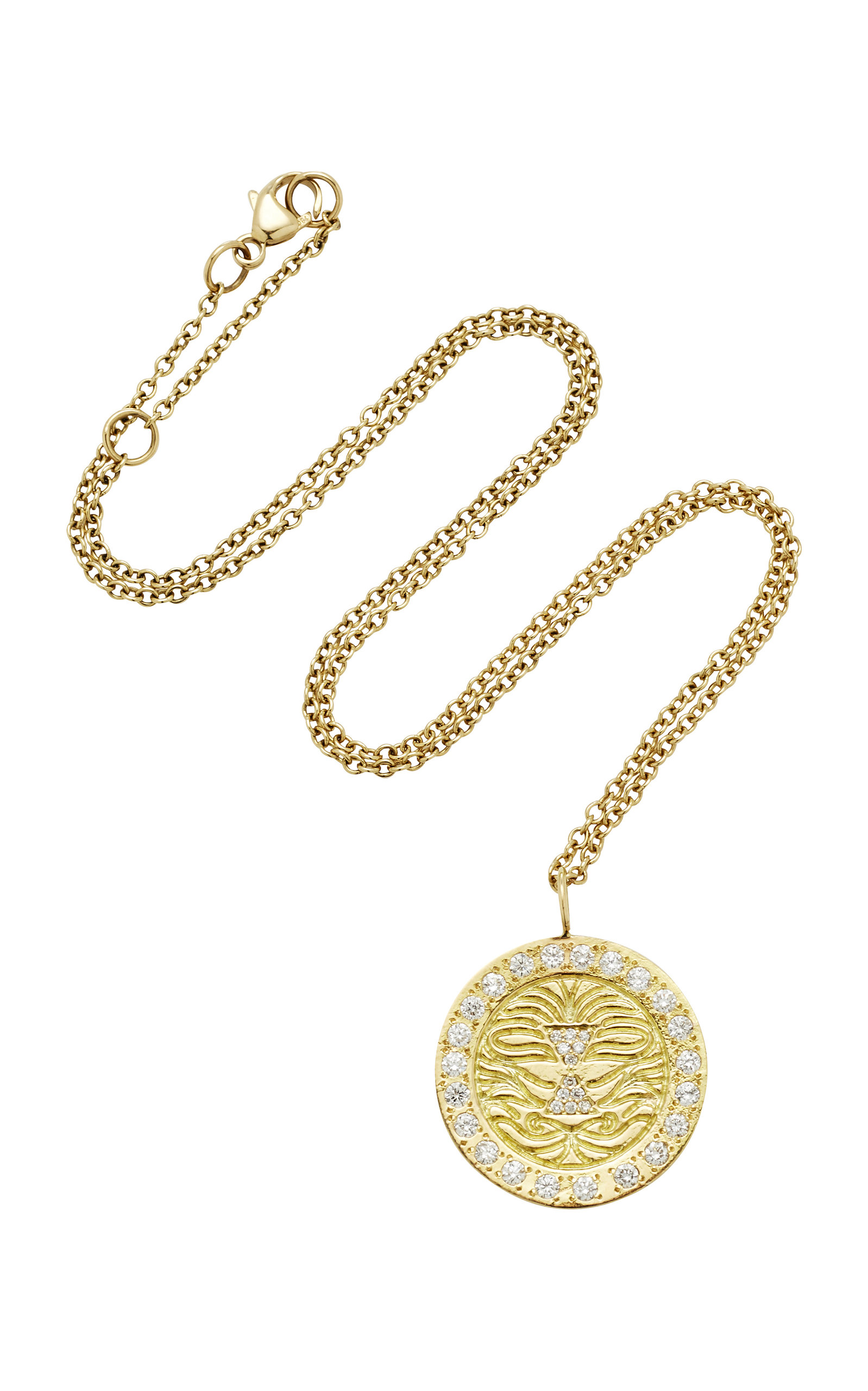 MISAHARA LION CHARM 18K GOLD DIAMOND NECKLACE