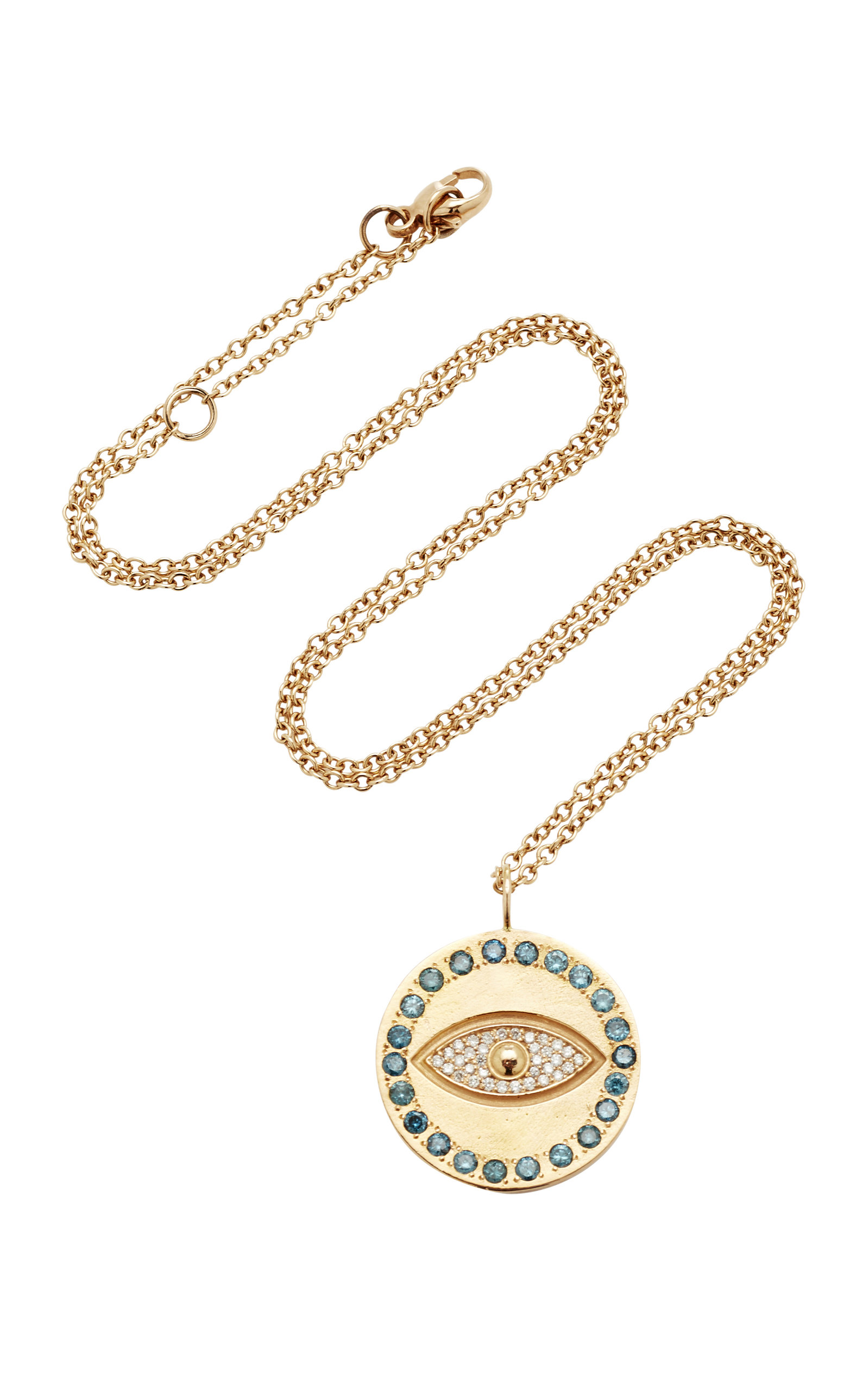 eye coin necklace evil pendant white lyst product jewelry diamond gold gallery roberto