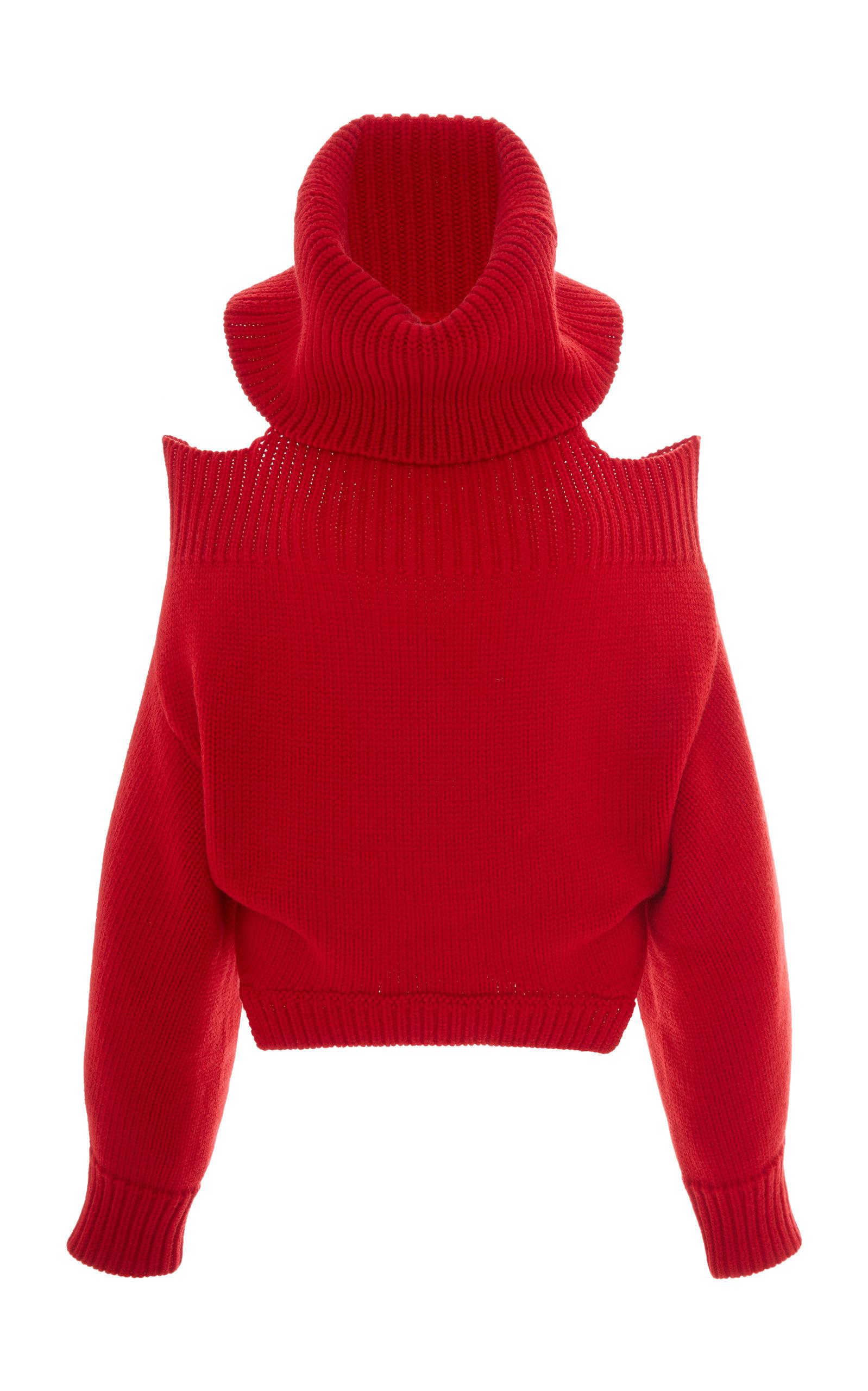 Shop Monse Upside Down Wool Turtleneck Sweater In Red 8e6cb46b8