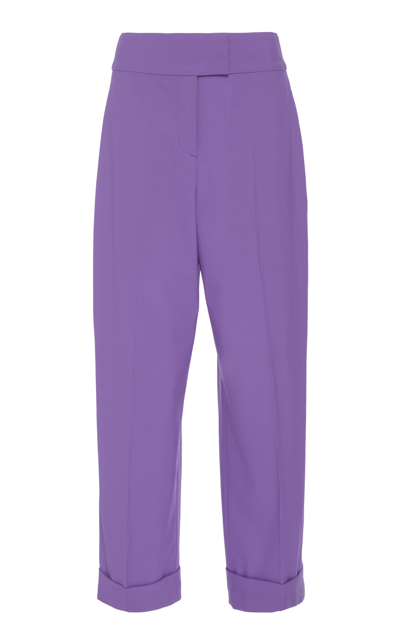 High Waisted Wool Culottes in Purple