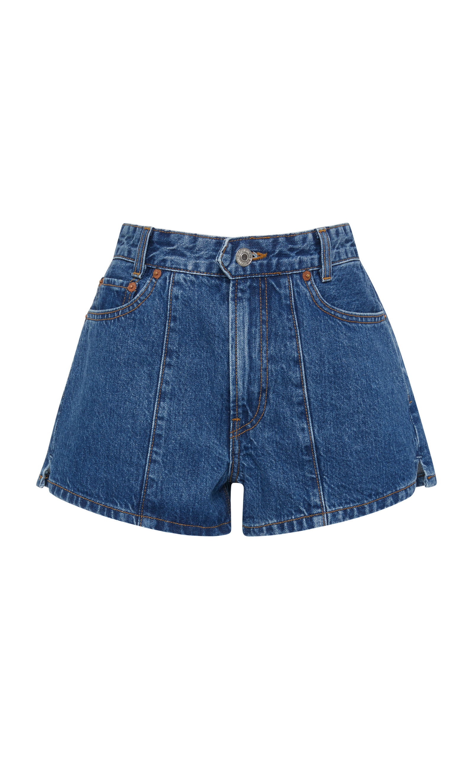 + RE/DONE VENICE PINTUCKED DENIM SHORTS