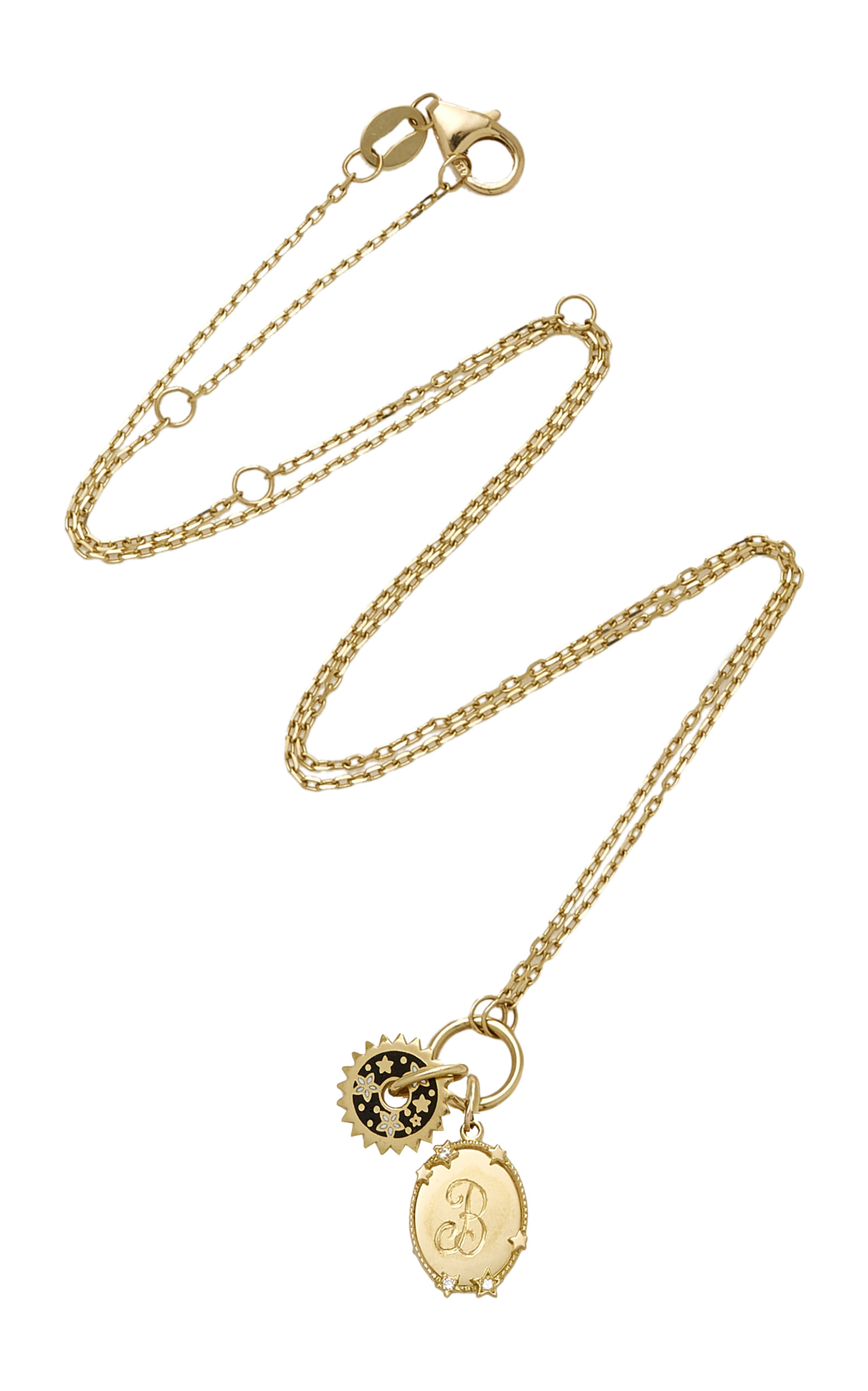 Foundrae MOnogrammable Oval Star And Dark Blossoms Disk Drop Necklace Pjzh4