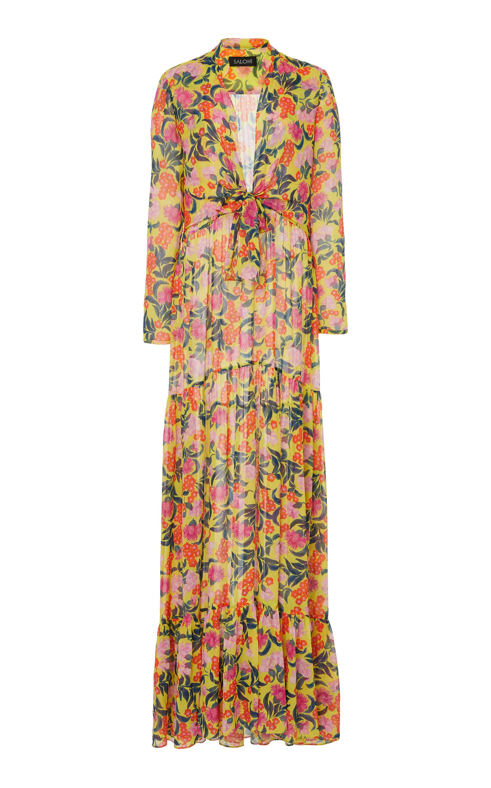 SALONI Alexia Tie-Front Floral-Print Silk-Chiffon Maxi Dress