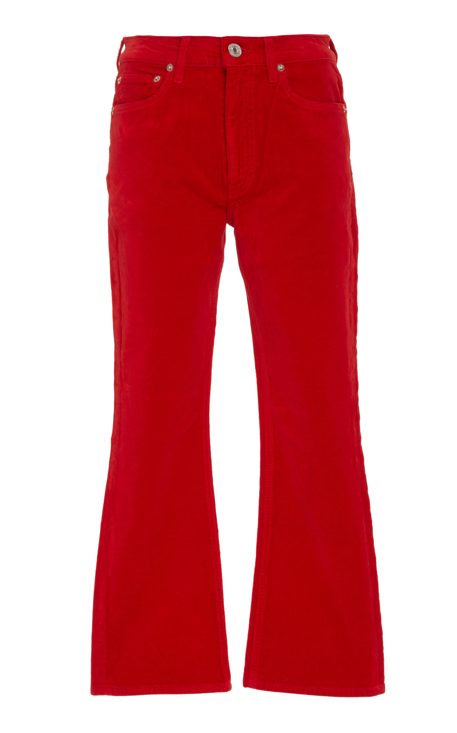 Mid-Rise Cropped Velvet Pant in Red