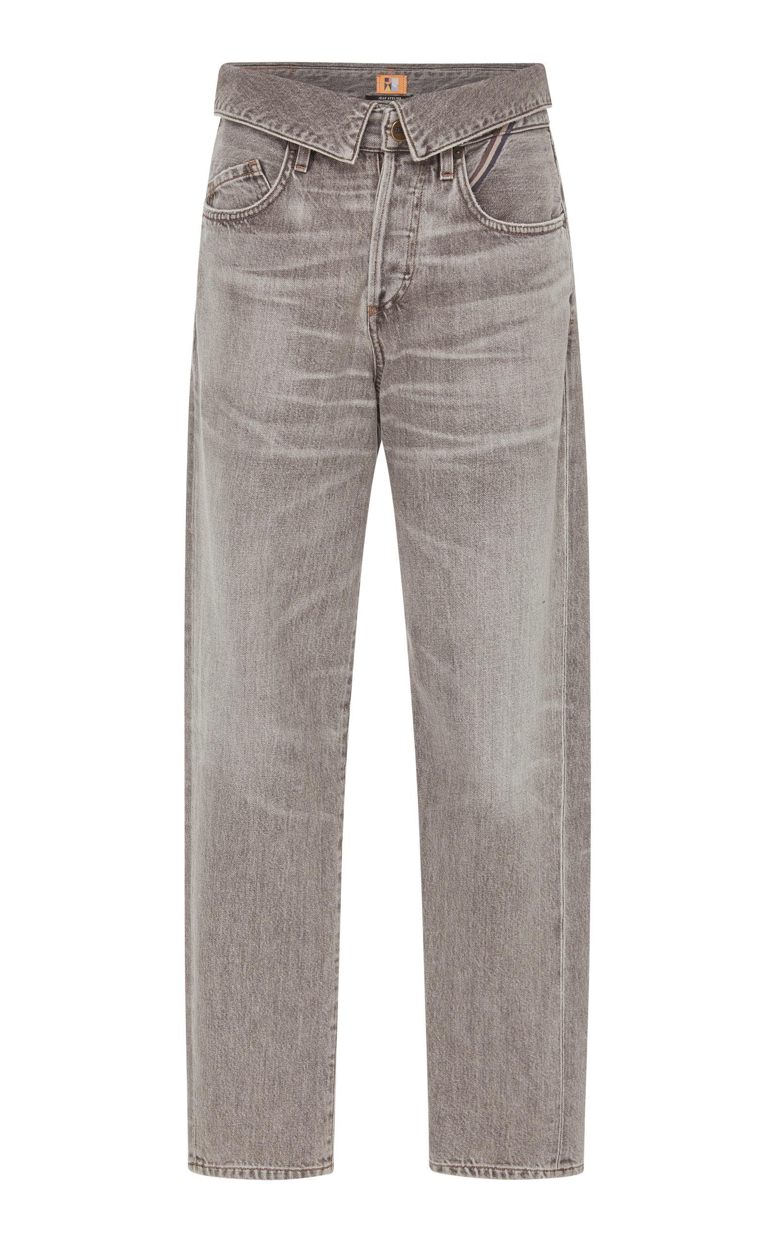 JEAN ATELIER Flip Foldover High-Rise Boyfriend Jeans in Storm