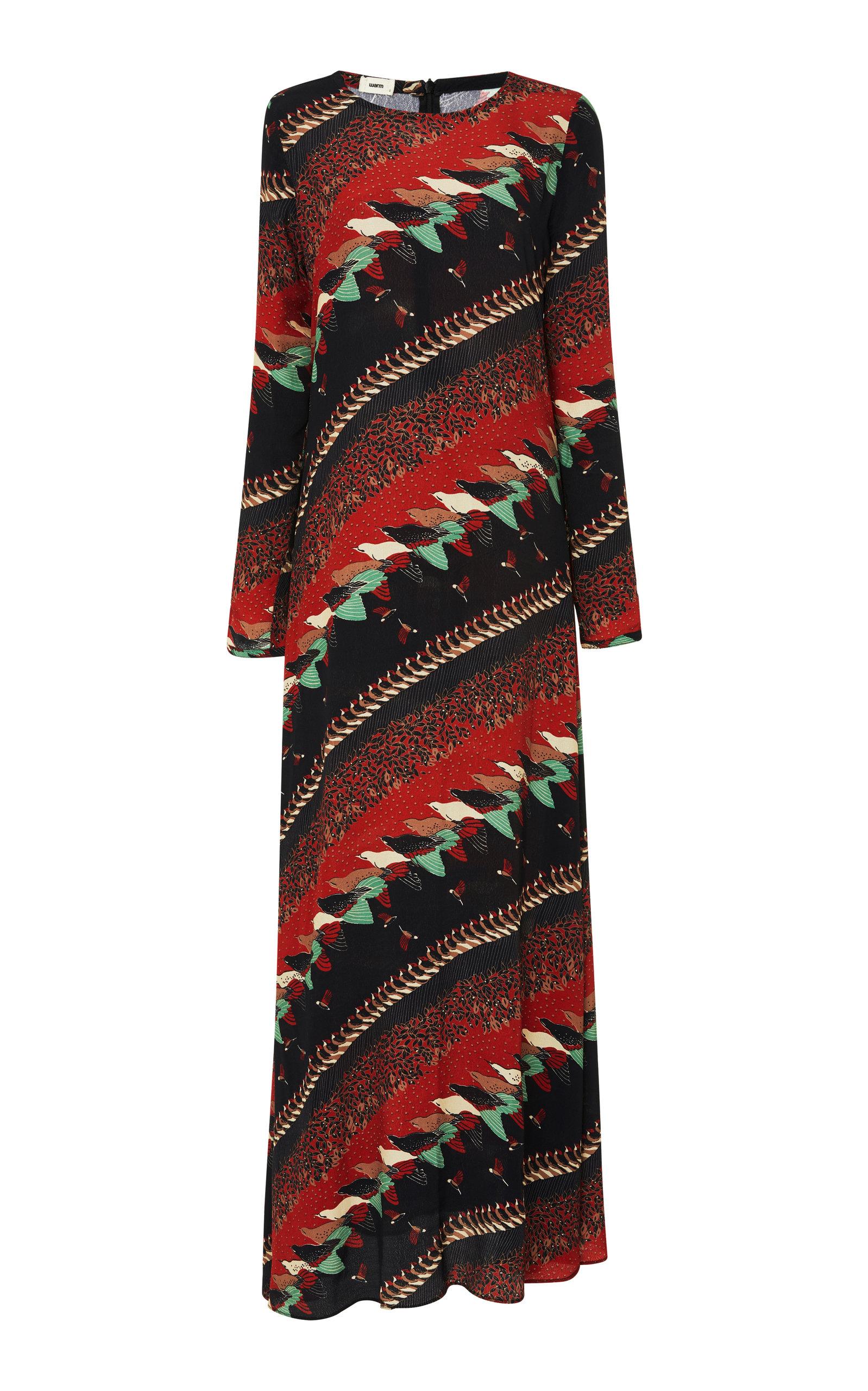 Warm PRINTED CADY MAXI DRESS